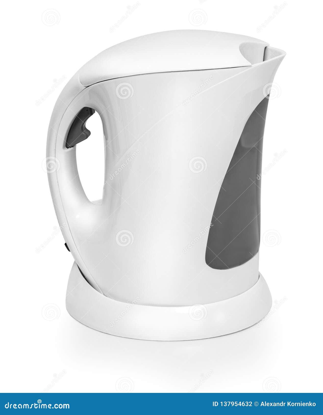 Weißer Wasserkocher lokalisiert auf Weiß