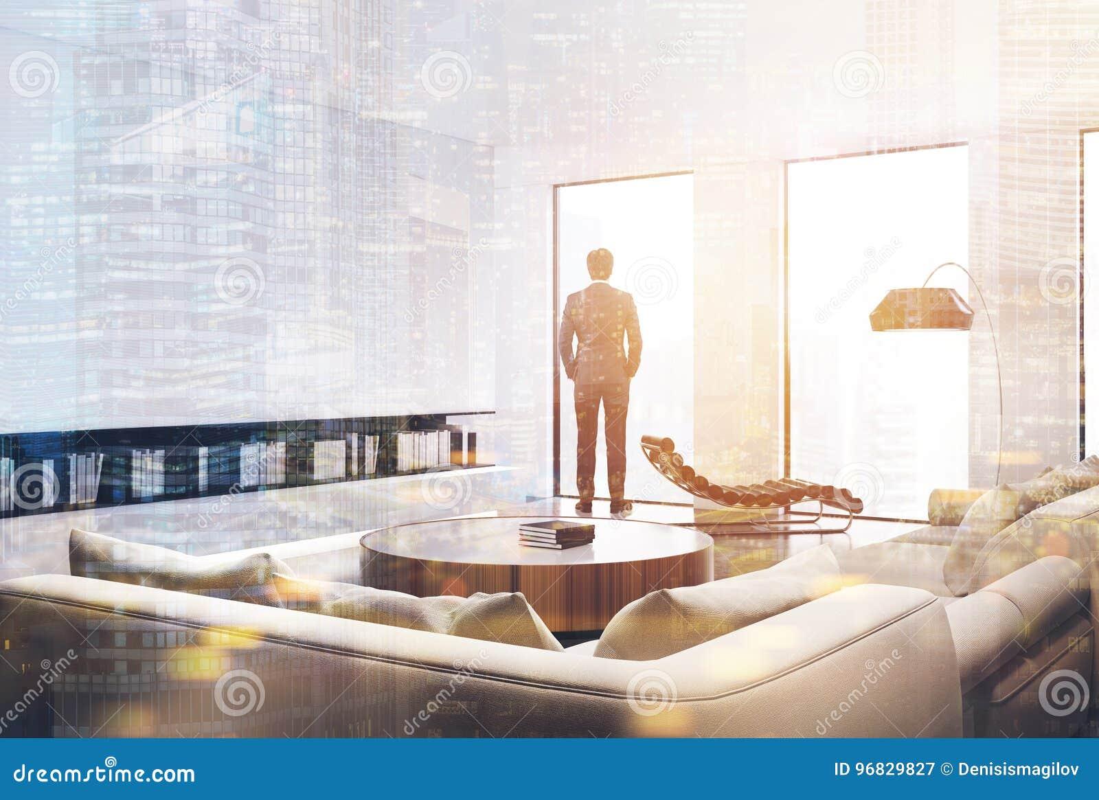 Weißer Wohnzimmerinnenraum, Geschäftsmann Stockbild - Bild von ...