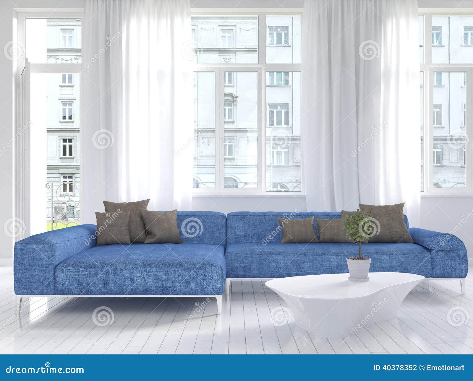 Weißer Wohnzimmerinnenraum Mit Blauer Couch Stockfoto Bild Von