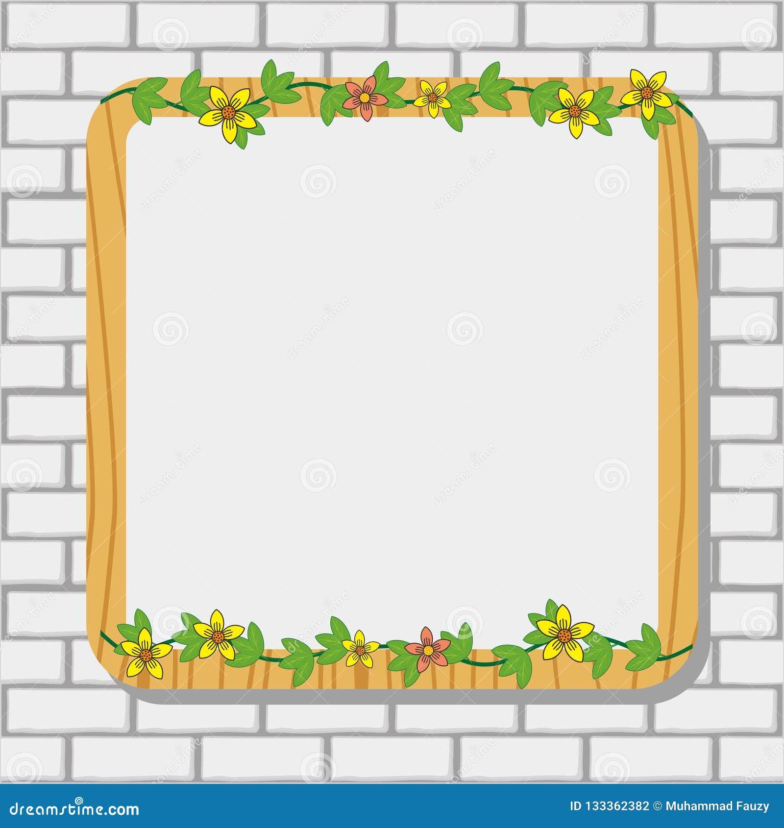 Weißer Ziegelstein-Rahmen mit Blumen-und Rebdekoration