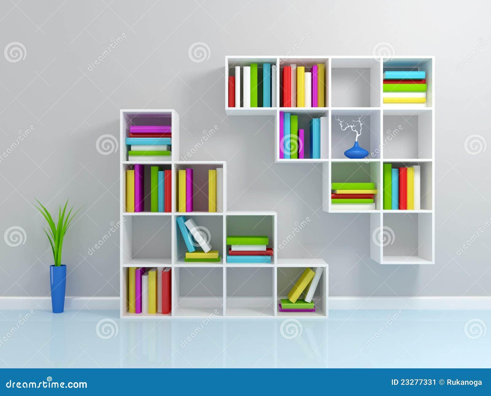 wei es b cherregal mit bunte b cher stock abbildung illustration von minimalismus literatur. Black Bedroom Furniture Sets. Home Design Ideas