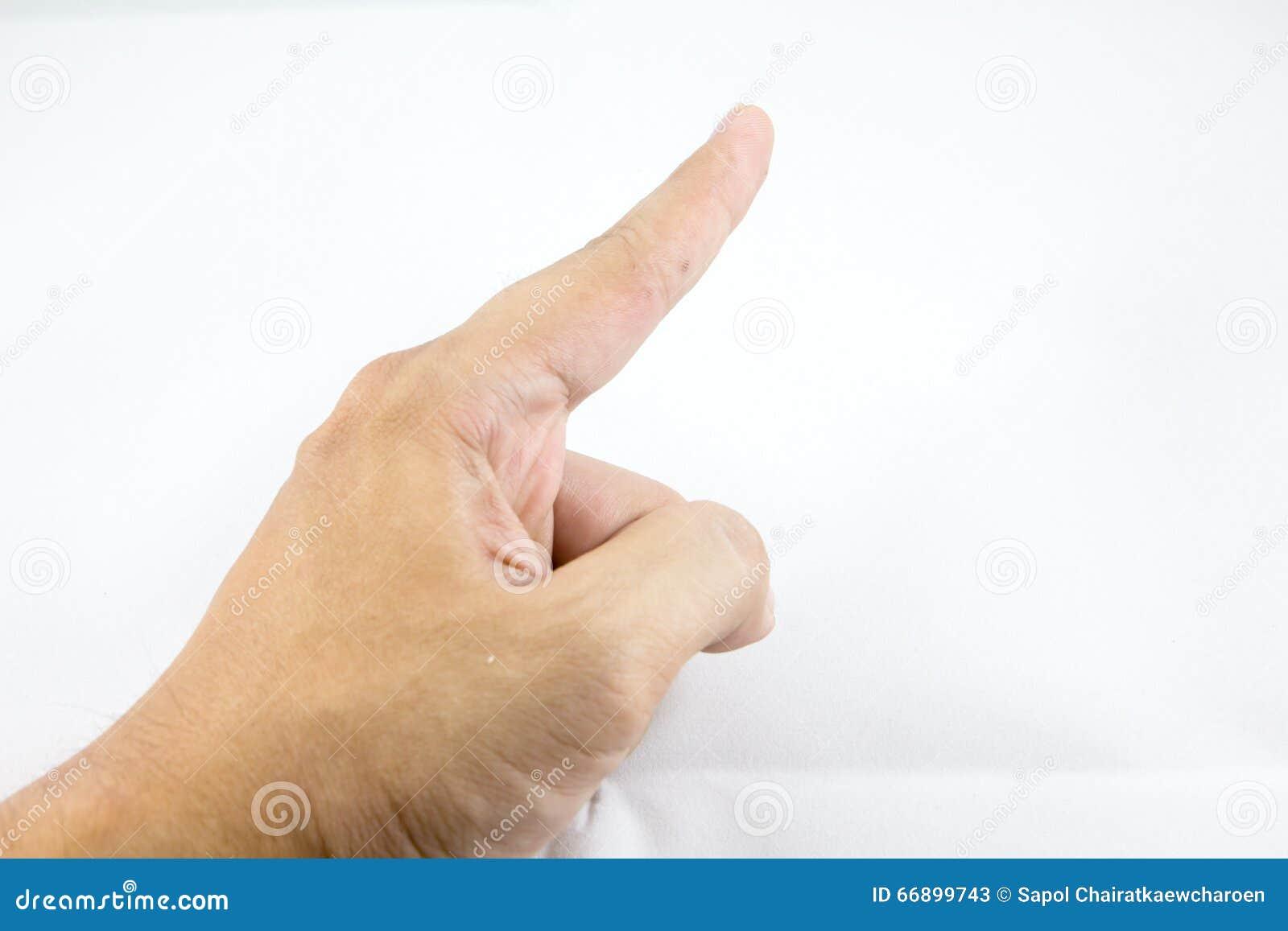 Weißes backgroung Isolat des Fingerpunktes