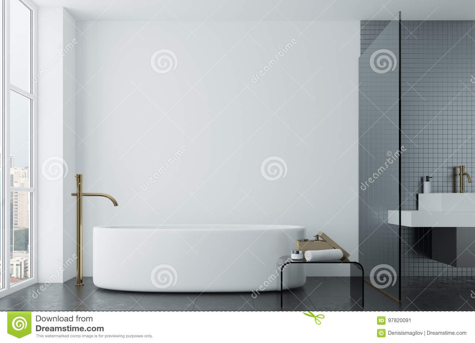 Weißes Badezimmer, Graue Fliesen Und Runde Wanne Stock ...