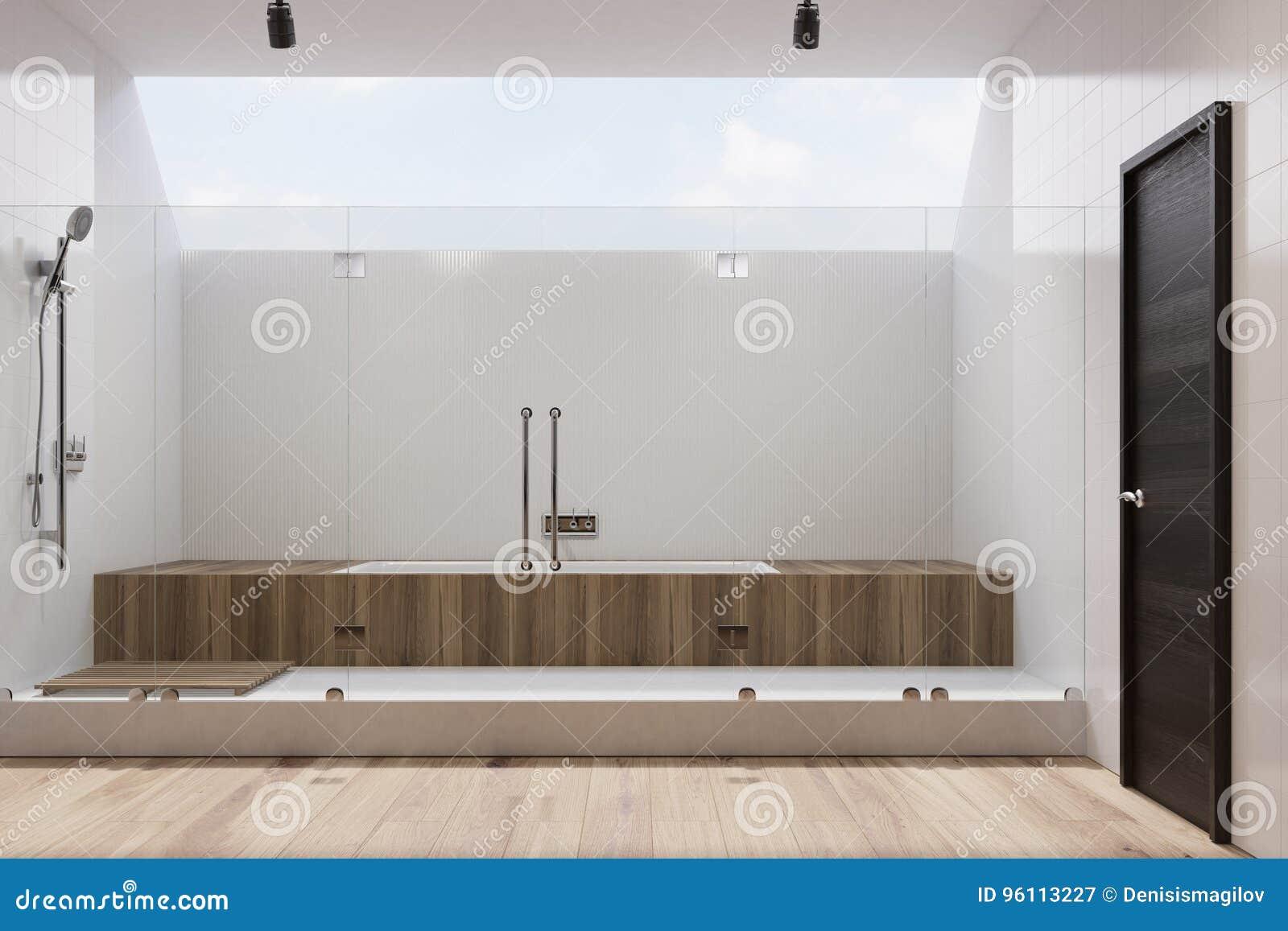 Weißes Badezimmer Innen, Hölzerne Wanne, Dusche Stock Abbildung ...