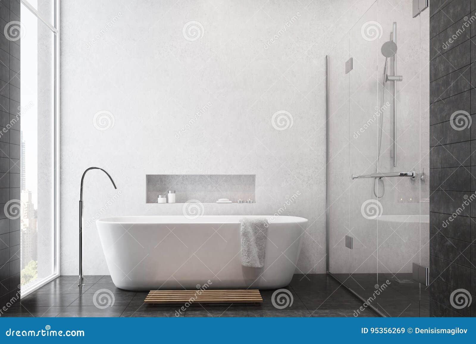 Weißes Badezimmer, Schwarze Fliesen, Dusche Stock Abbildung ...