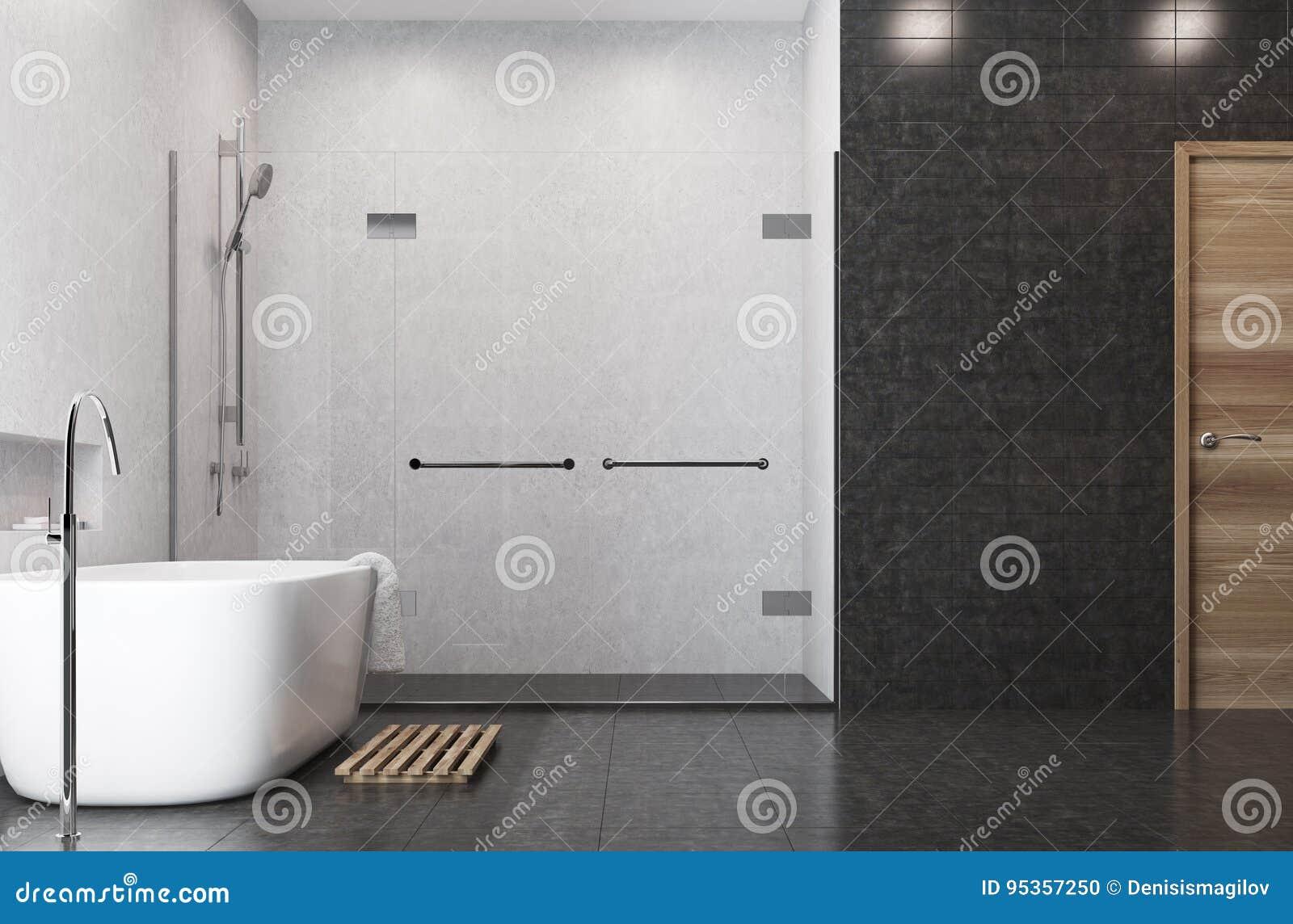 Weisses Badezimmer Schwarze Fliesen Duschseite Stock Abbildung