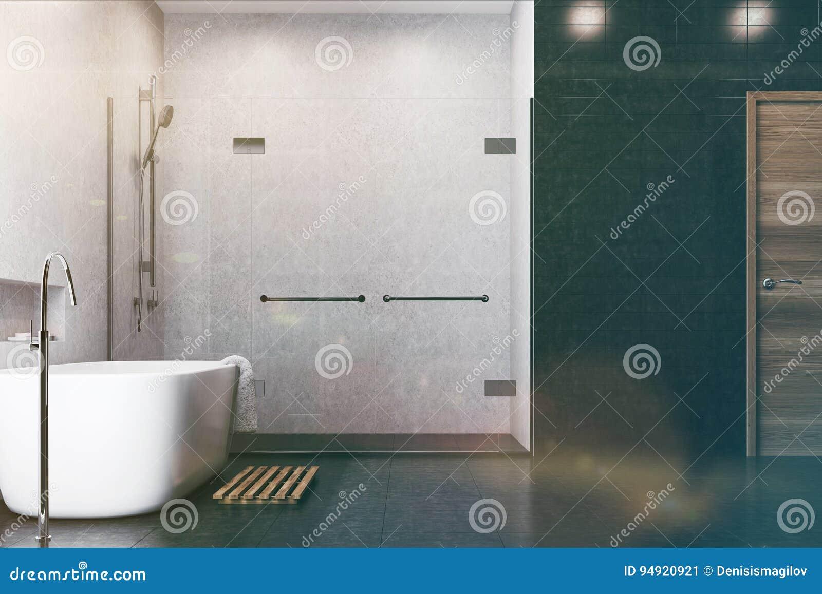 Weißes Badezimmer, Schwarze Fliesen, Duschseite Getont Stock ...