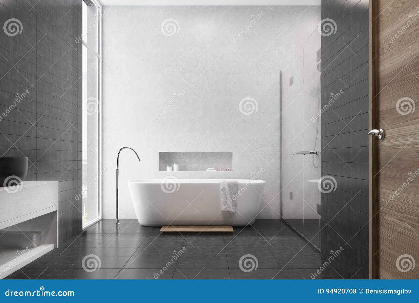 Weißes Badezimmer, Schwarze Fliesen, Wanne Stock Abbildung ...