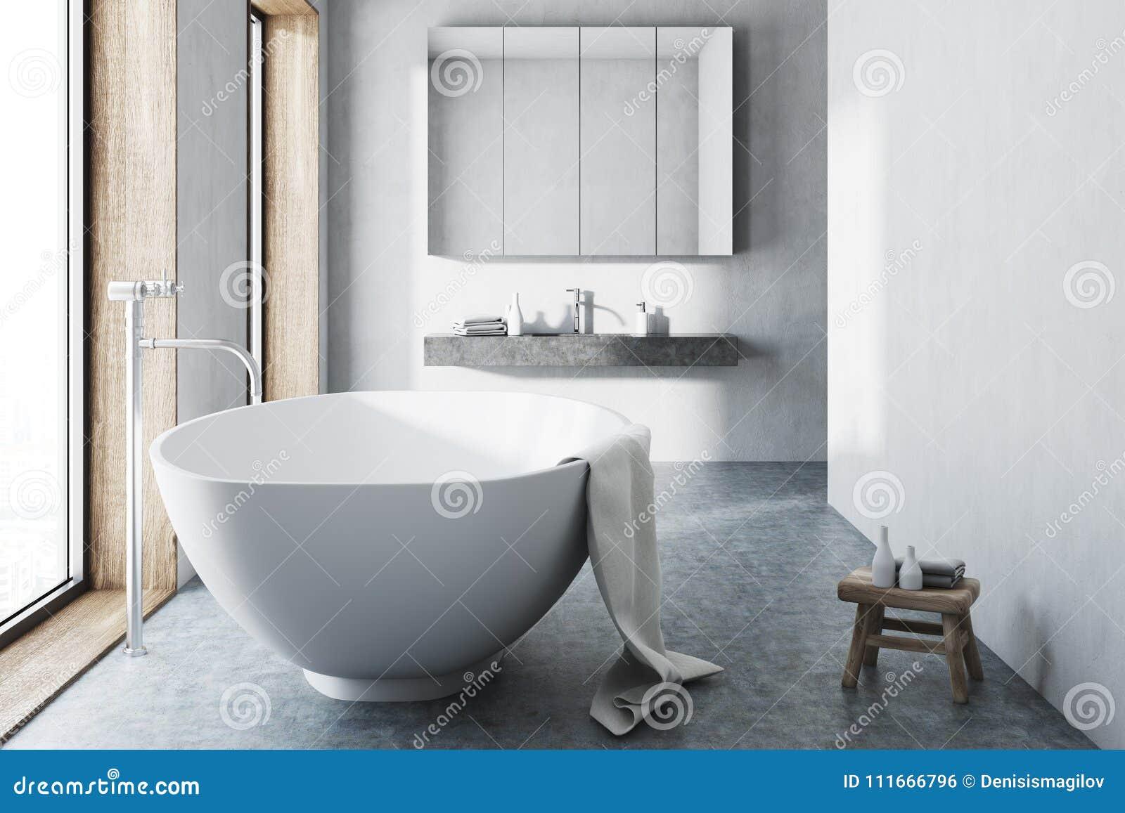 Weisses Badezimmer Weisse Wanne Konkreter Boden Stock Abbildung