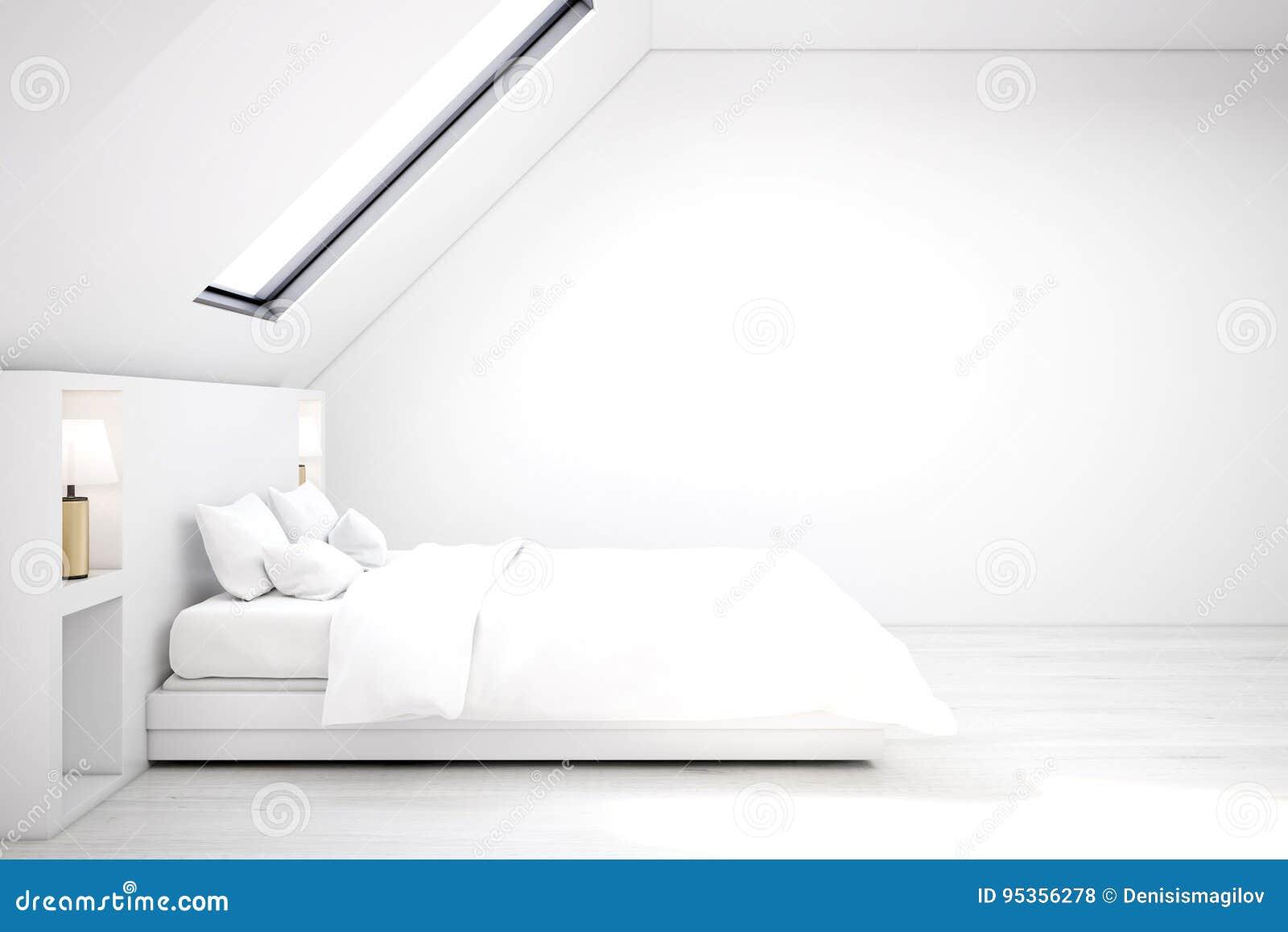Weisses Dachbodenschlafzimmer Weisser Boden Seite Stock Abbildung