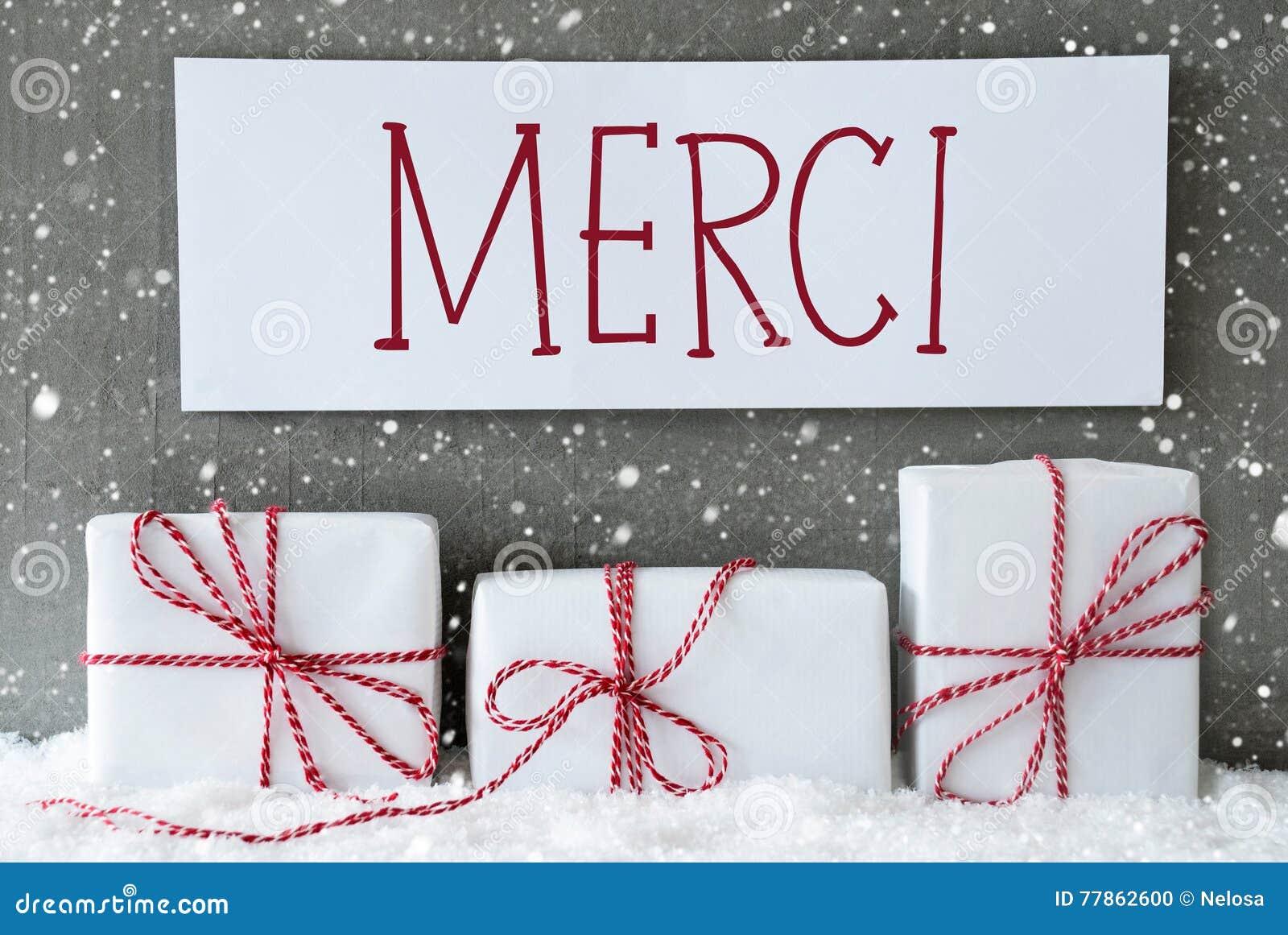Weißes Geschenk Mit Schneeflocken, Merci-Durchschnitte Danken Ihnen ...