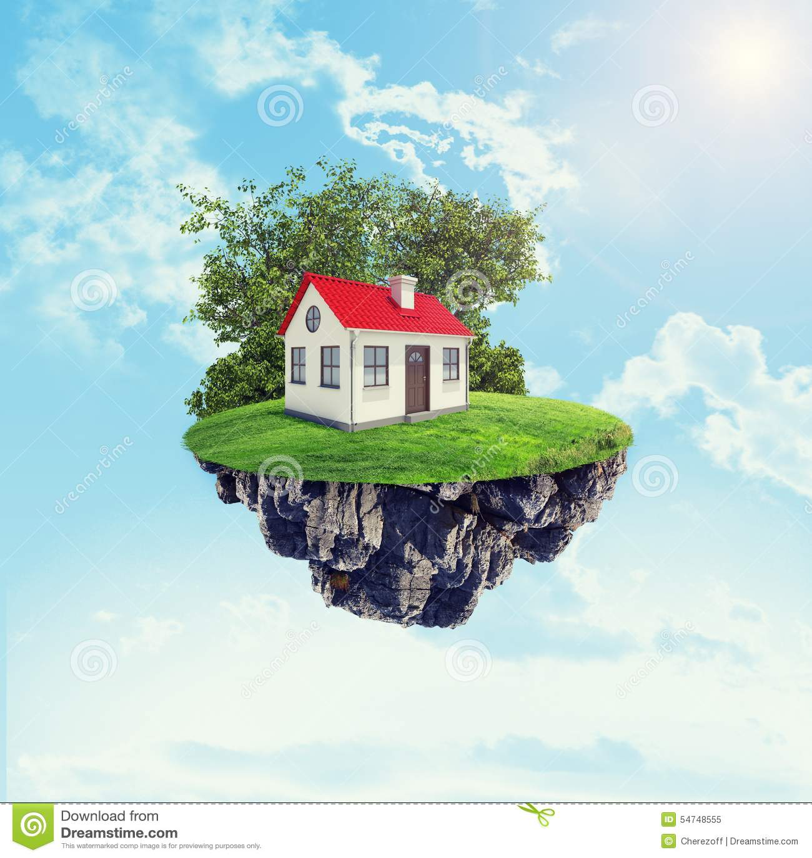 Wei es haus mit rotem dach stockbild bild von haus b ume for Modernes haus mit rotem dach