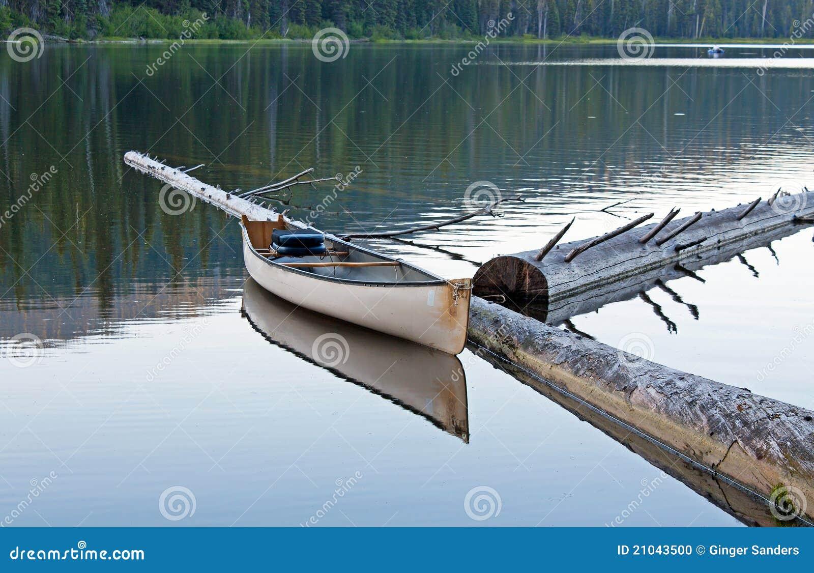 Weißes Kanu, das über den See nachdenkt