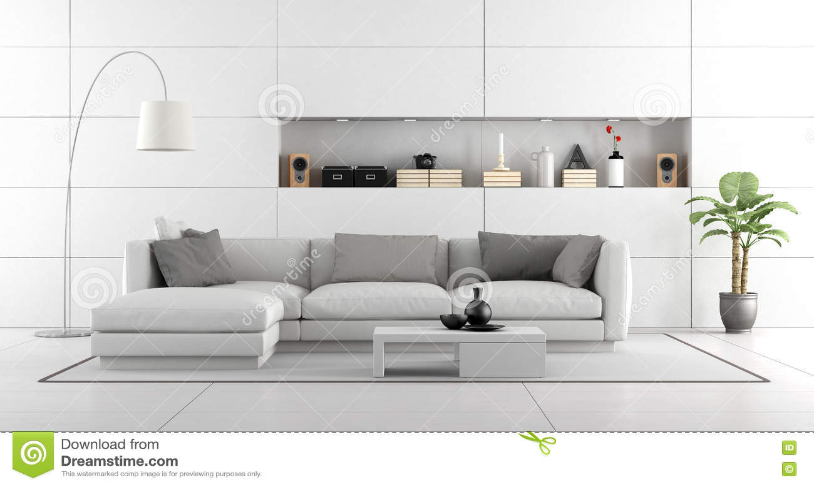Weißes Modernes Wohnzimmer