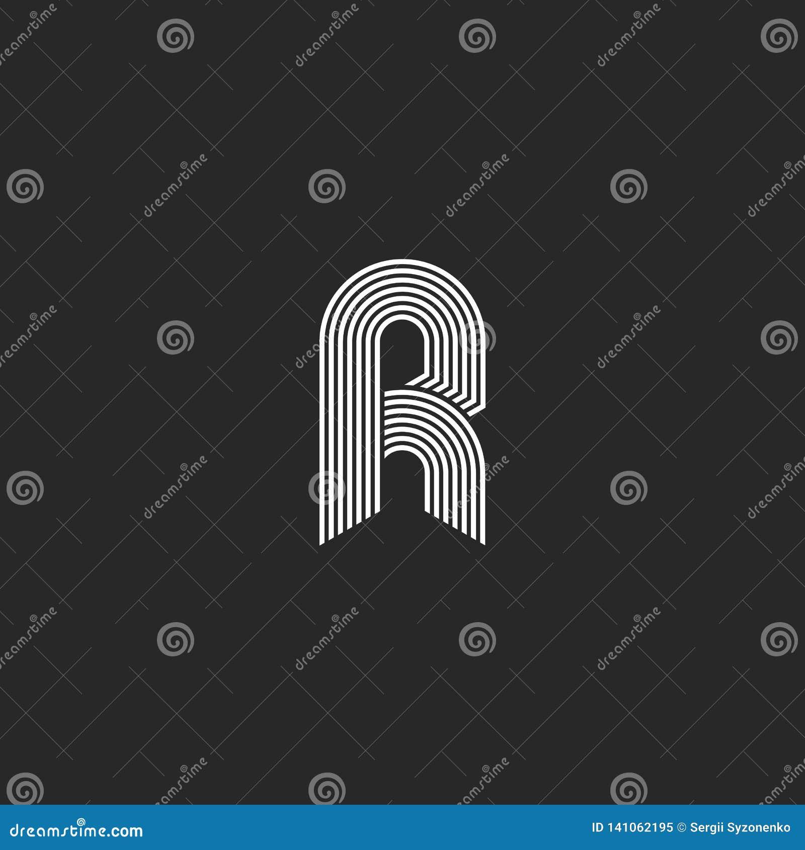 Weißes Monogramm des Buchstaben r des Hippies linear oder Ikone auf schwarzem Hintergrund Lineares Vektorinitialen-Symbollogo Ele