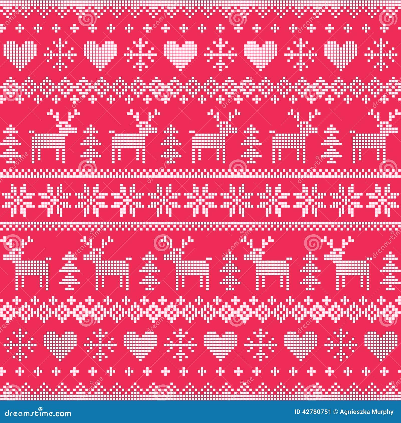 wei es nahtloses pixelated muster des winters des weihnachten mit rotwild und herzen auf rot. Black Bedroom Furniture Sets. Home Design Ideas