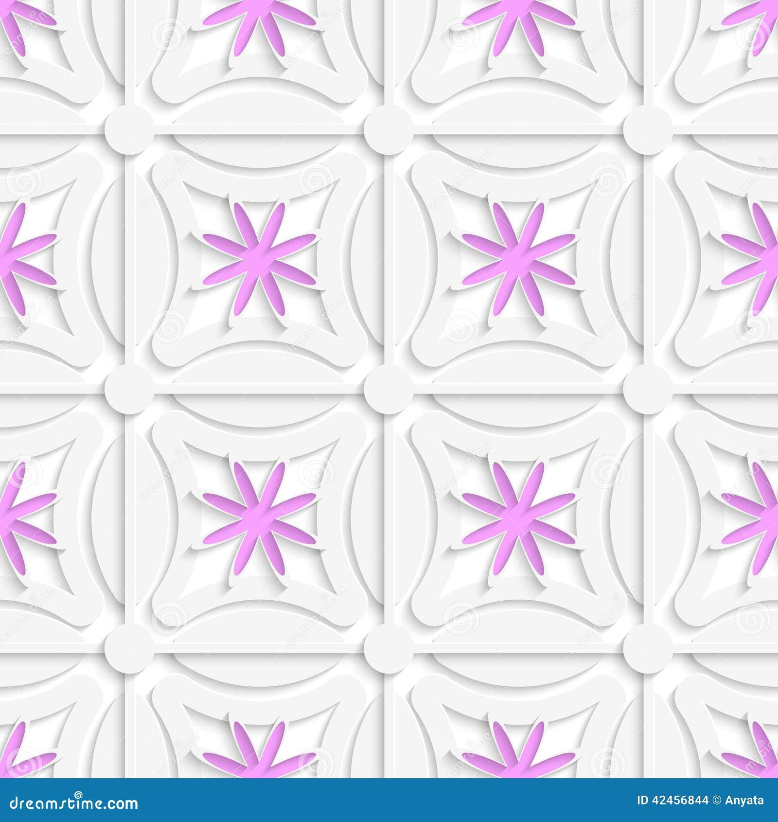 Weißes Netz und rosa Blumen schnitten O-Papier heraus