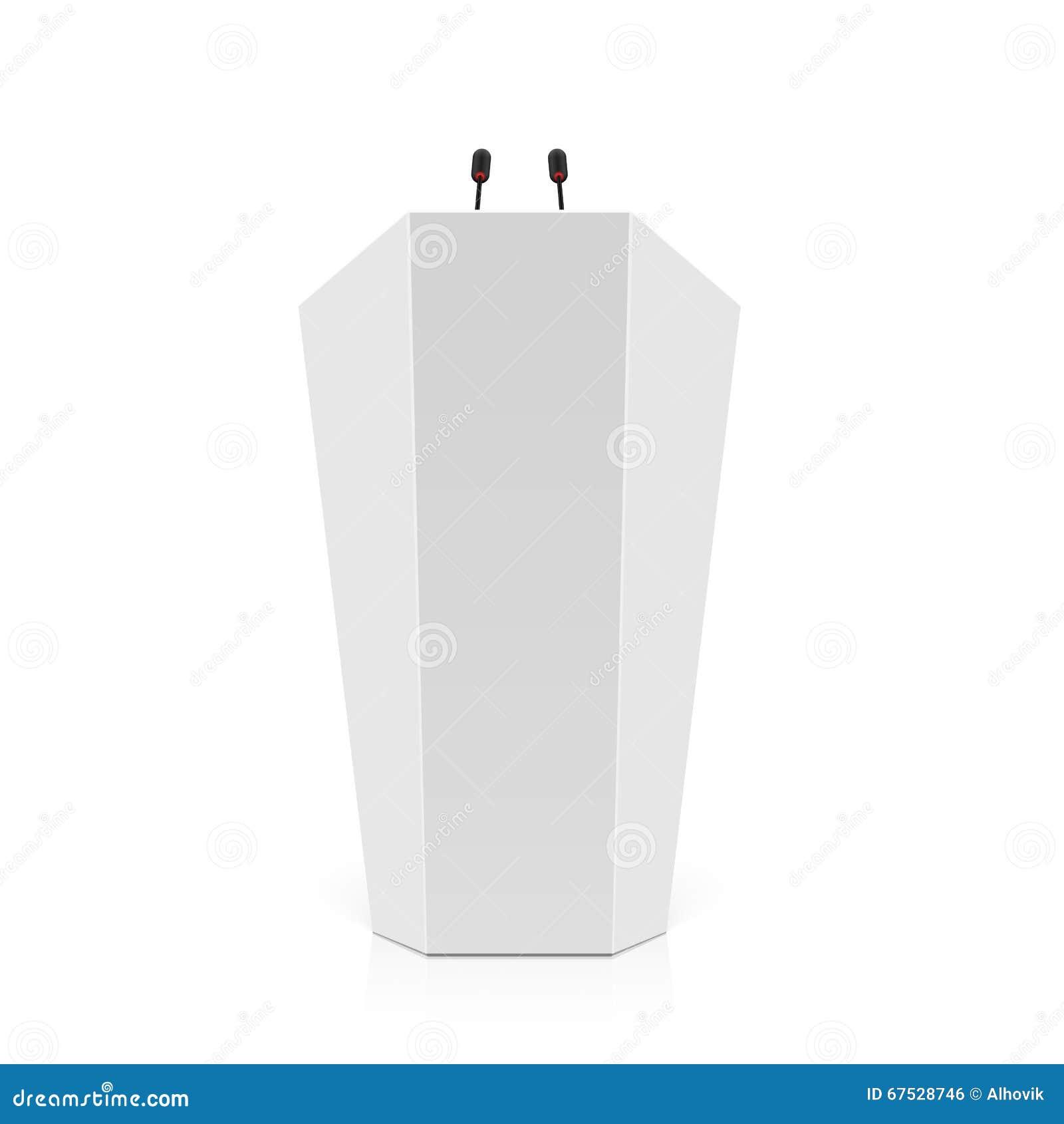 Weißes Podium, Podium, Tribüne mit Mikrophonen