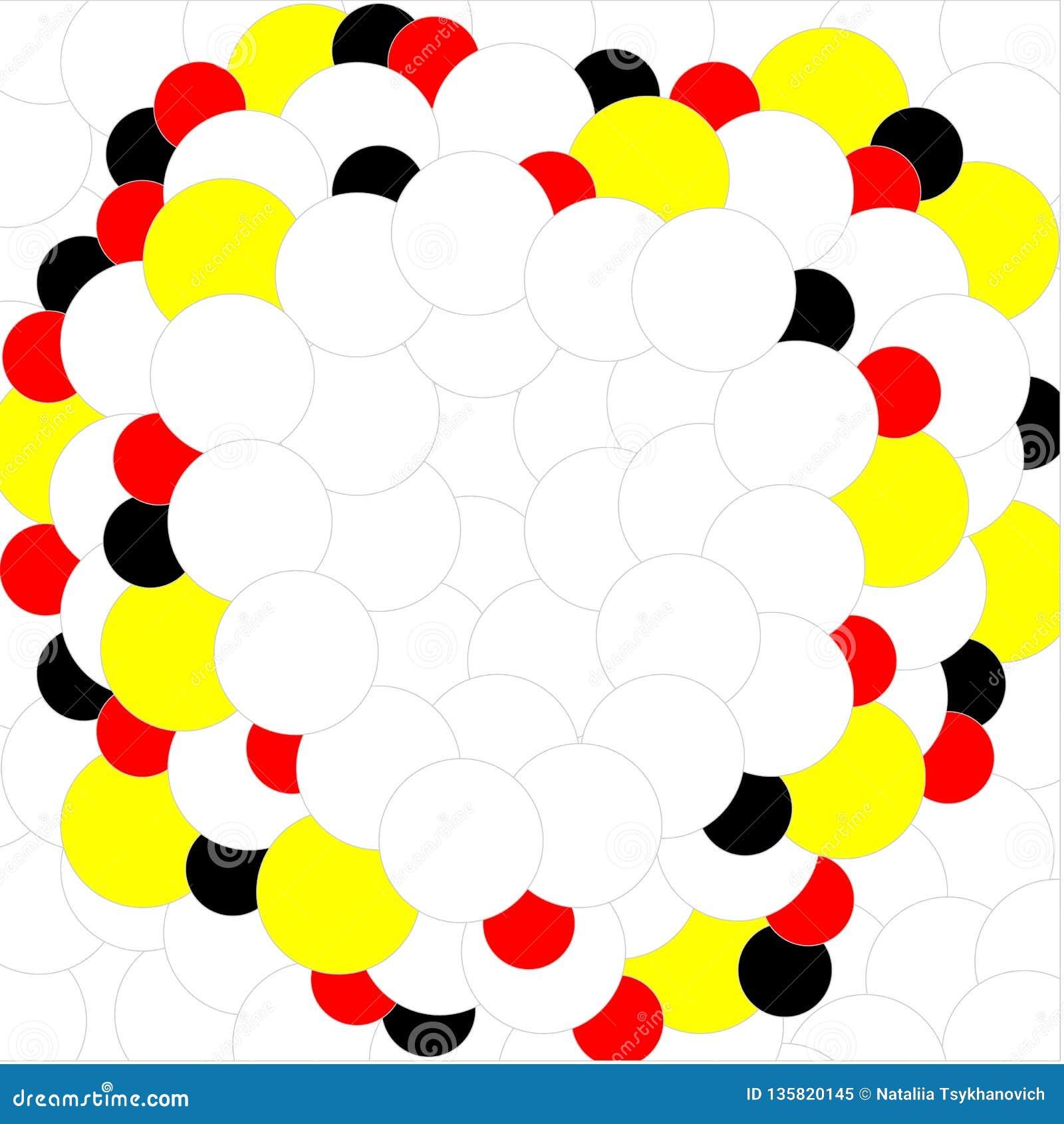 Weißes rotes gelbes Schwarzes der Bälle auf weißem Hintergrund