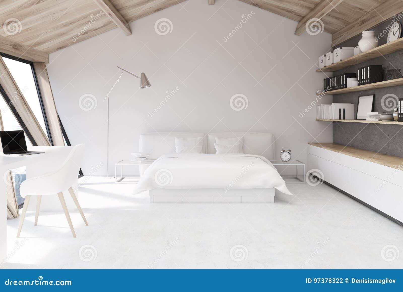 Weißes Schlafzimmer In Einem Dachboden Stock Abbildung ...
