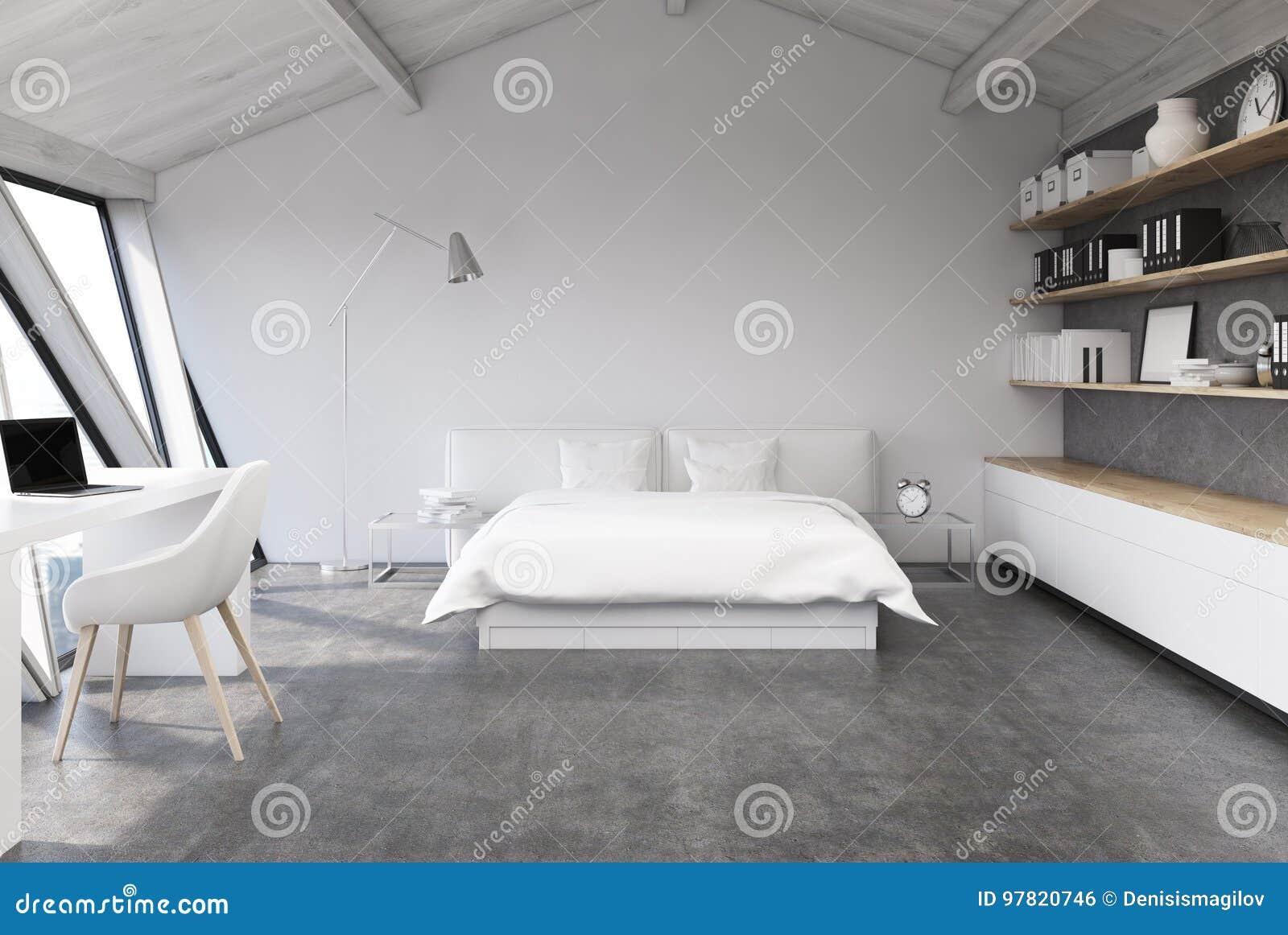 Weißes Schlafzimmer In Einem Dachboden, Konkret Stock Abbildung ...