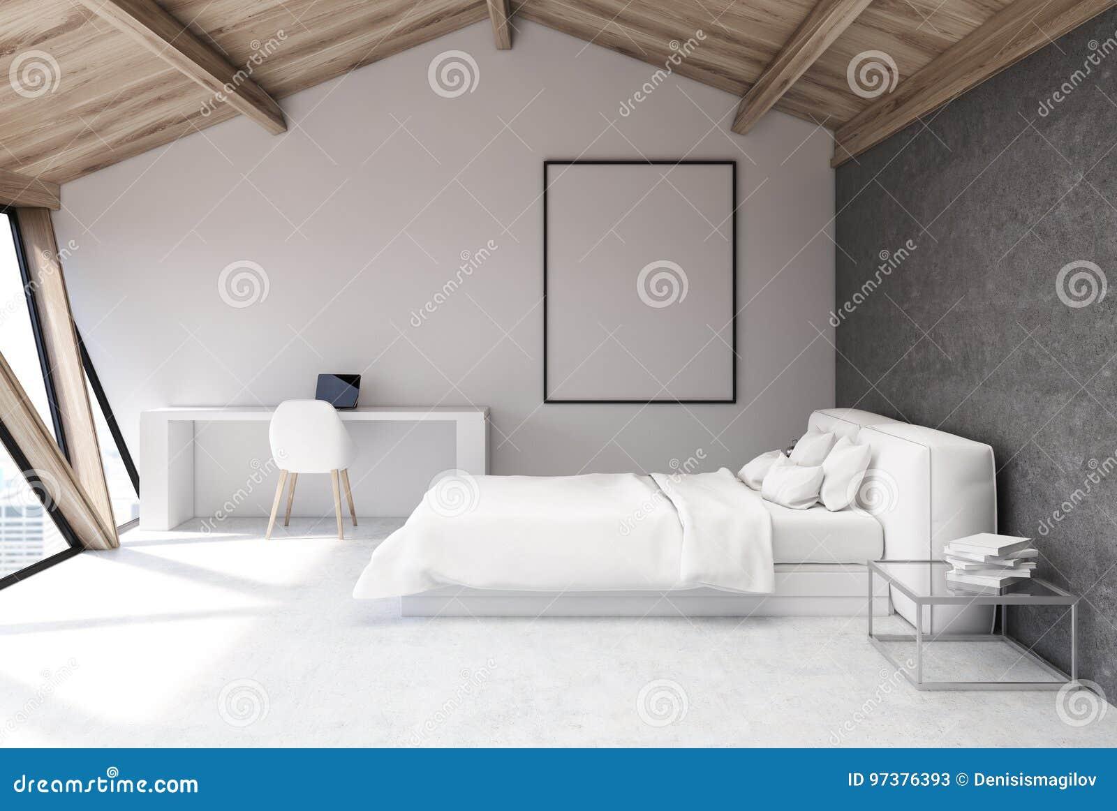 Fußboden Für Schlafzimmer ~ Weißes schlafzimmer in einem dachboden plakat stock abbildung