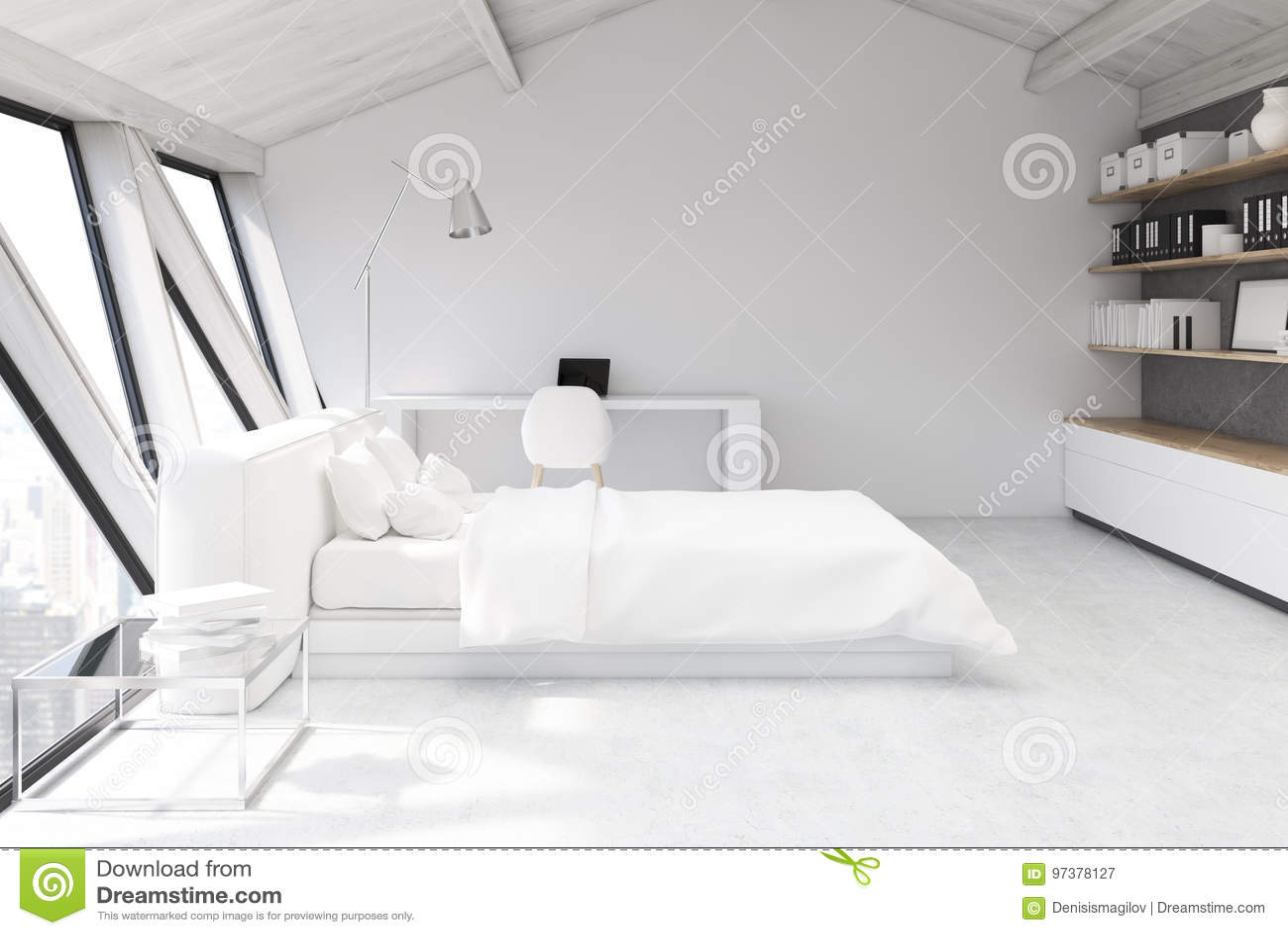 Weißes Schlafzimmer In Einem Dachboden, Seitenansicht Stock ...