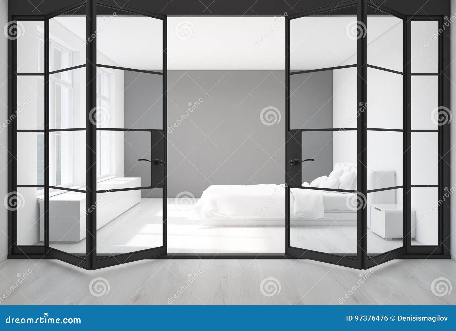 Weißes Schlafzimmer, Graue Wand, Türen Stock Abbildung ...