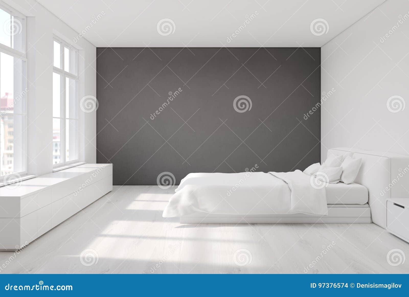 Weißes Schlafzimmer Mit Einer Grauen Wand Stock Abbildung ...
