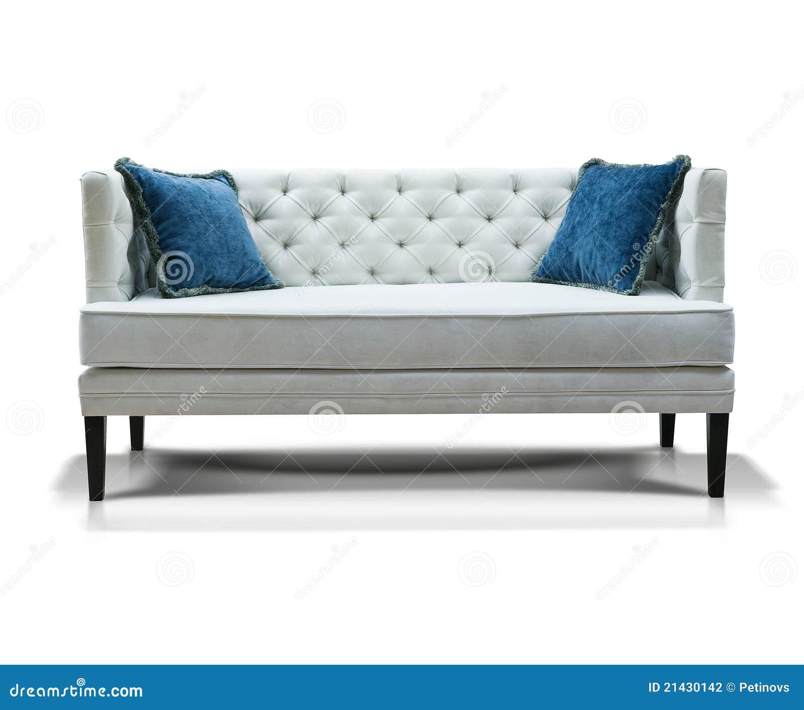 wei es sofa mit zwei blauen kissen stockfotografie bild 21430142. Black Bedroom Furniture Sets. Home Design Ideas