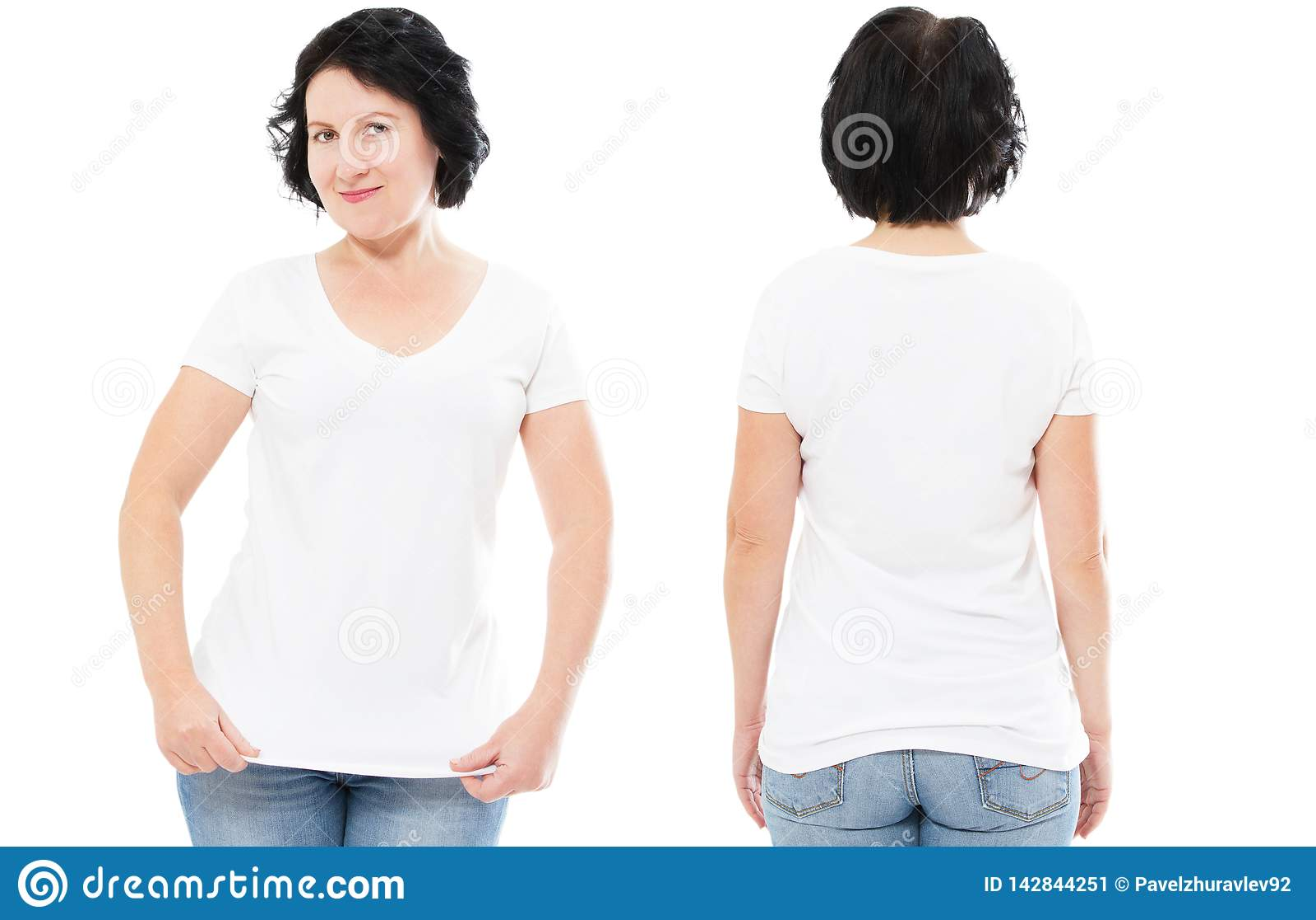 Weißes T-Shirt stellte, Frau in Art T-Shirt ein, das oben auf weißem Hintergrund, T-Shirt Spott, leeres Hemd lokalisiert wurde