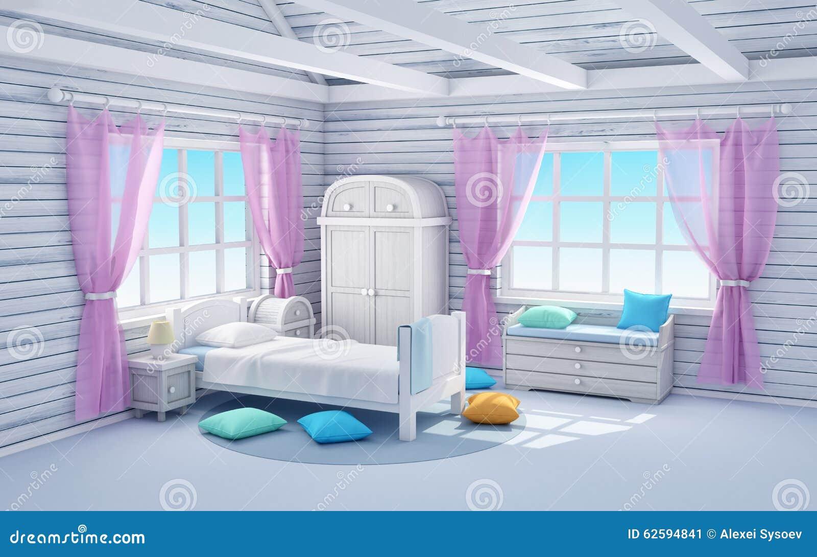 Traum Schlafzimmer Weißes Traumschlafzimmer Stock Abbildung   Bild: 62594841