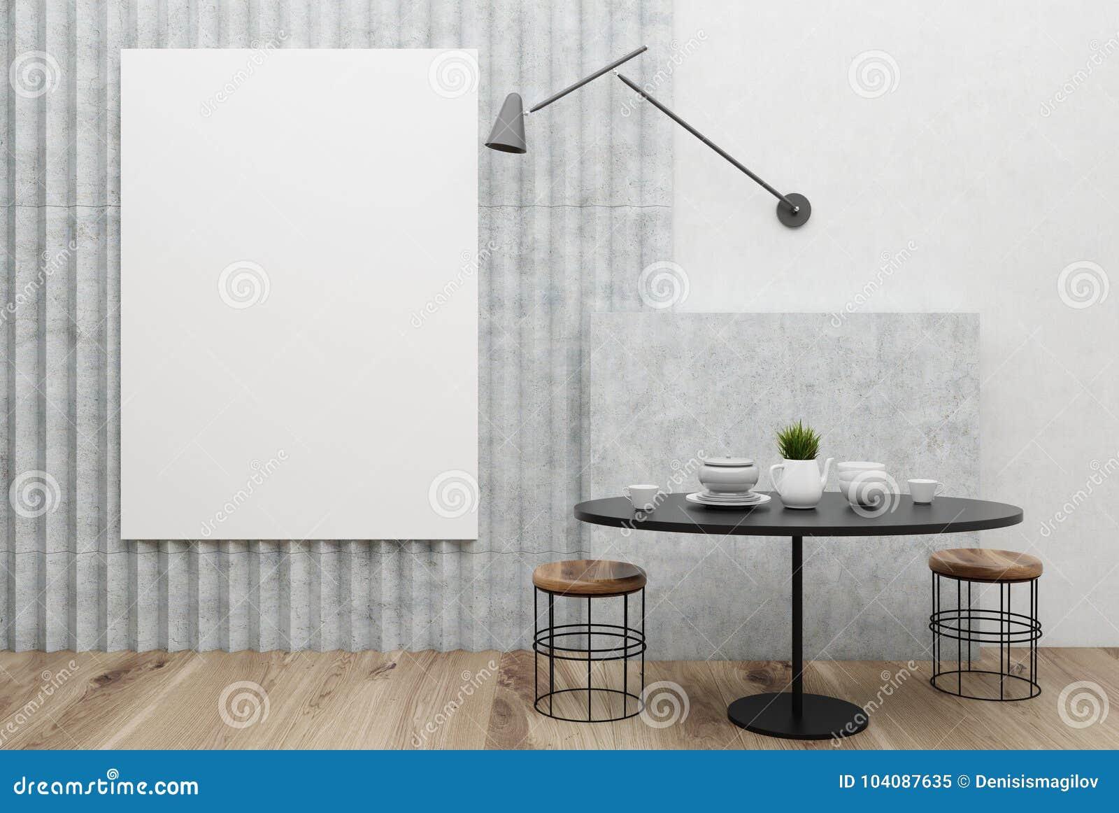 Weisses Und Graues Kleines Esszimmer Plakat Stock Abbildung