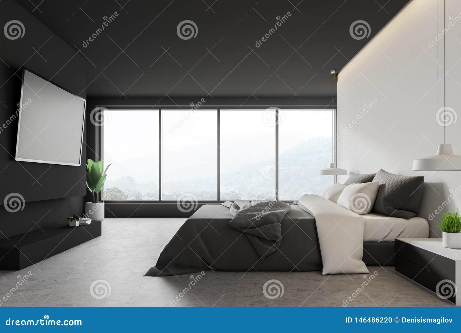 Weißes und graues Schlafzimmer mit Fernsehen