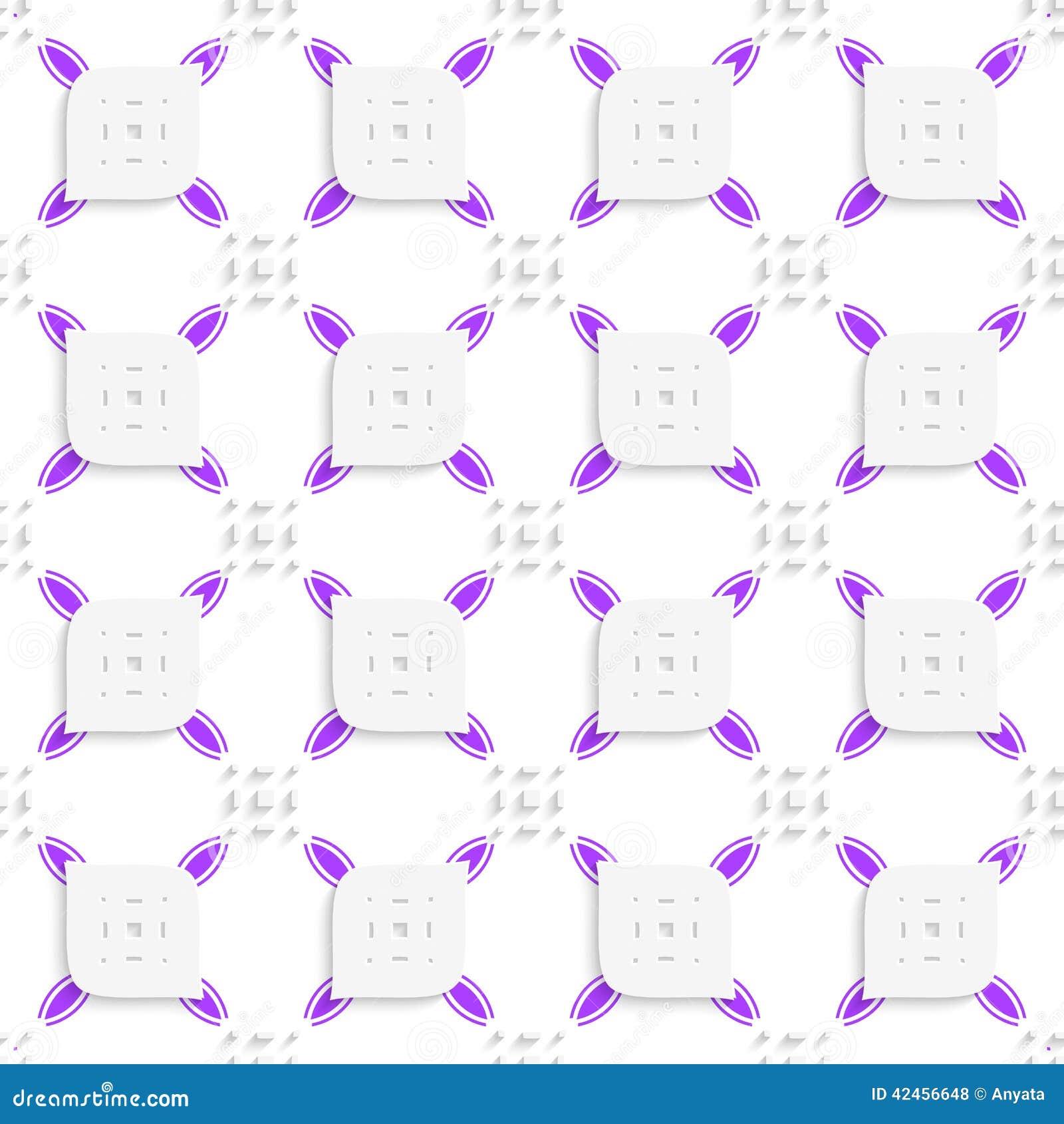 Weißes und purpurrotes kleines Rechteckherumtasten und durchlöchertes Blattse