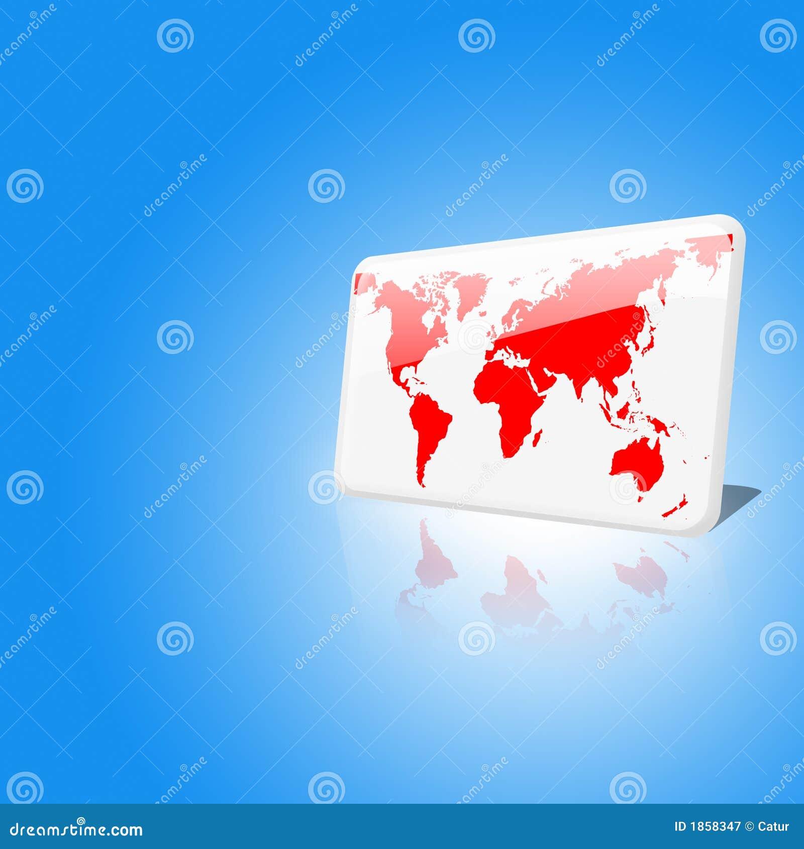Weißes und rotes Weltchip auf Hintergrund des blauen Himmels
