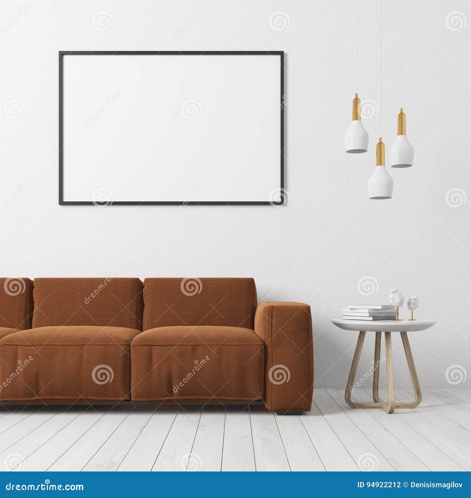 Weißes Wohnzimmer Braunes Sofa Plakat Stock Abbildung