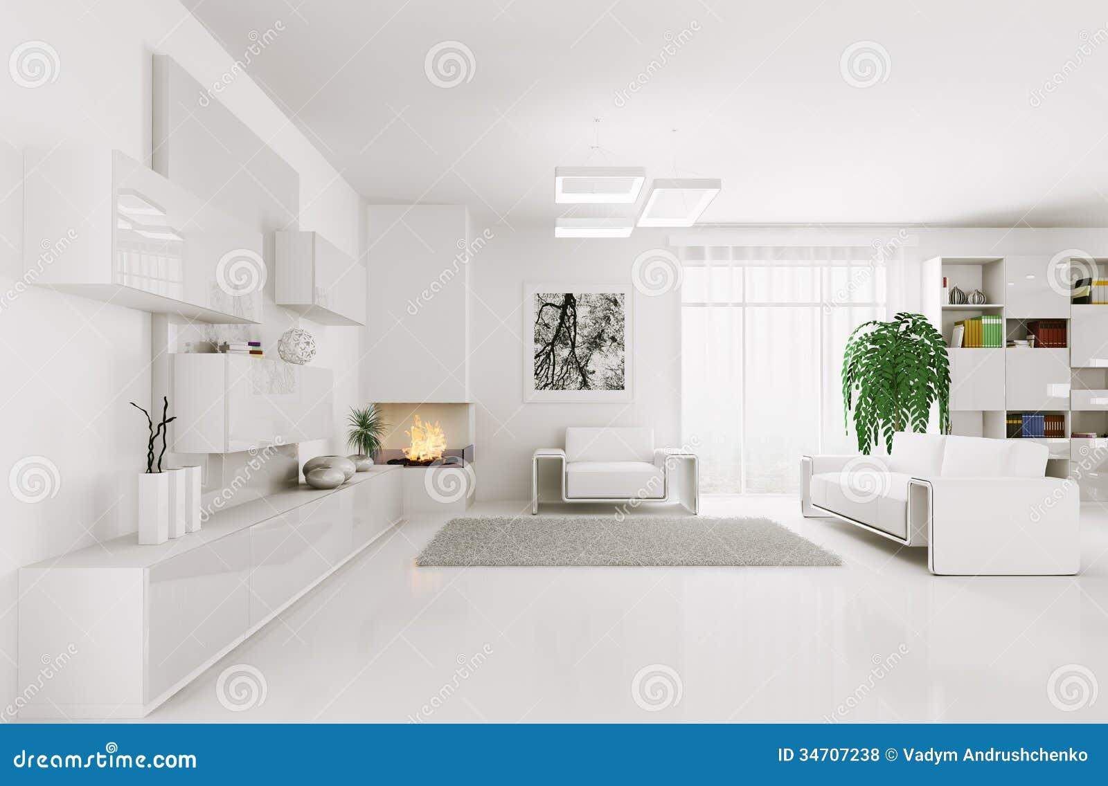 Weißes Wohnzimmer Innen 3d
