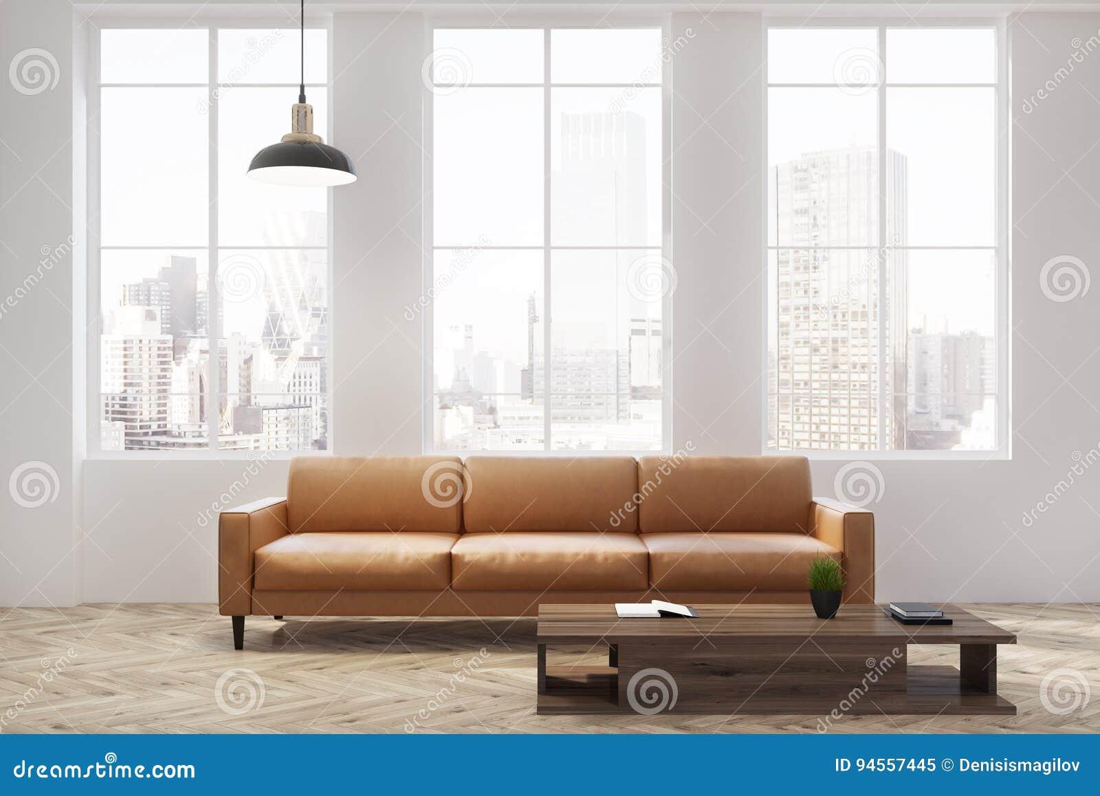 Download Weißes Wohnzimmer Mit Einem Beige Sofa, Fenster Stock Abbildung    Illustration Von Couch,