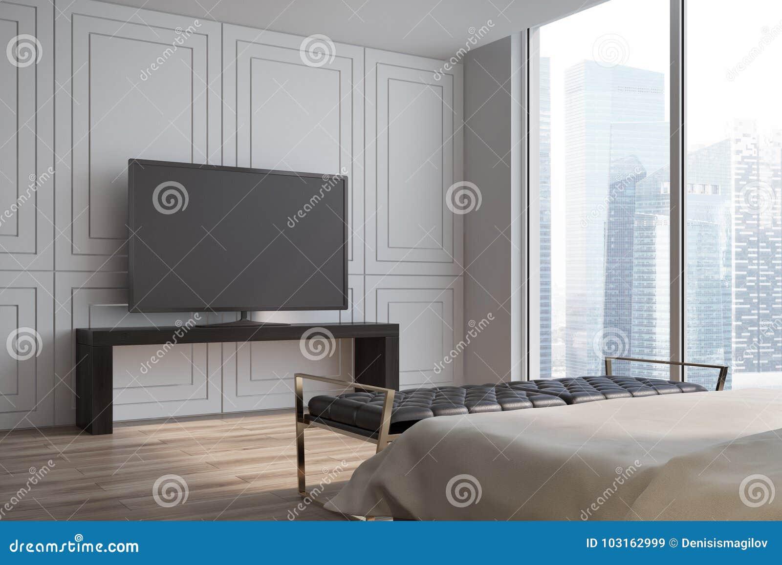 Weisses Wohnzimmer Seitenansicht Des Fernsehers Stock Abbildung