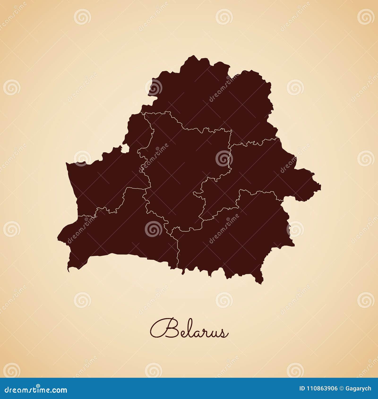 Weißrussland-Regionskarte: brauner Entwurf des Retrostils an