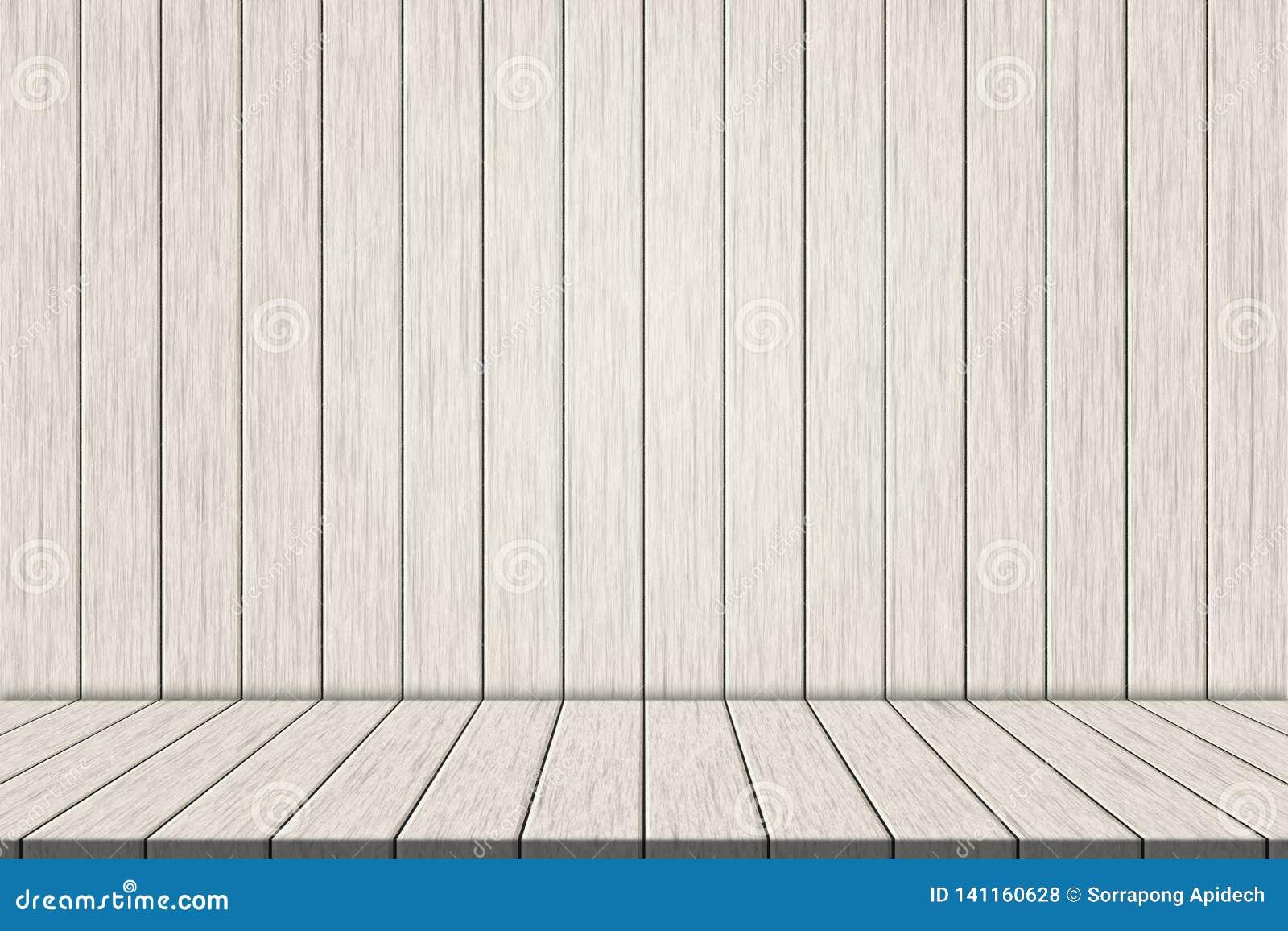 Weiße hölzerne Fußbodenbretter der Illustration auf weißer hölzerner Wand für Montage Ihr Produkt
