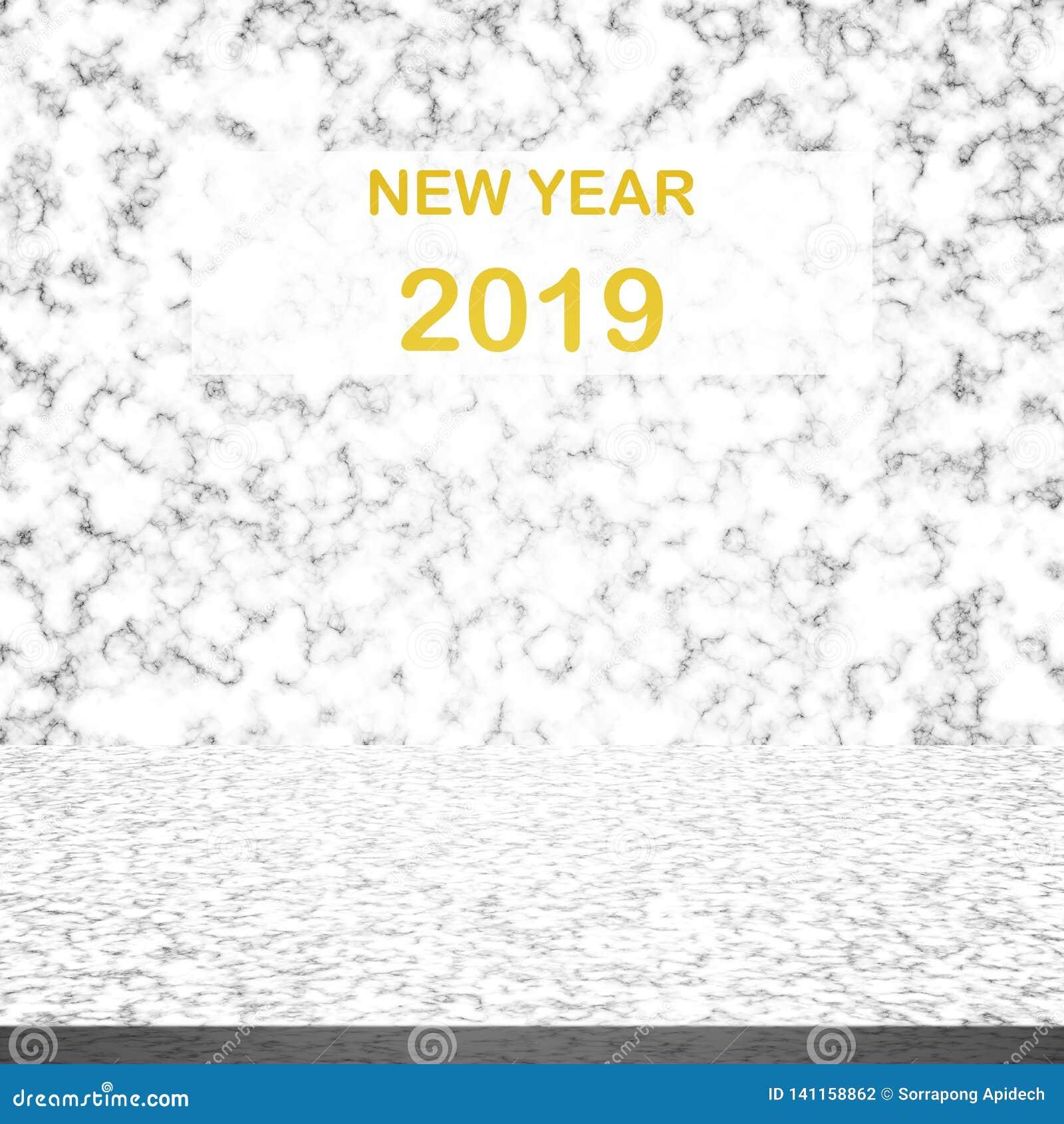 Weiße Marmortischplatte mit Zahl des guten Rutsch ins Neue Jahr 2019 auf Hintergrund