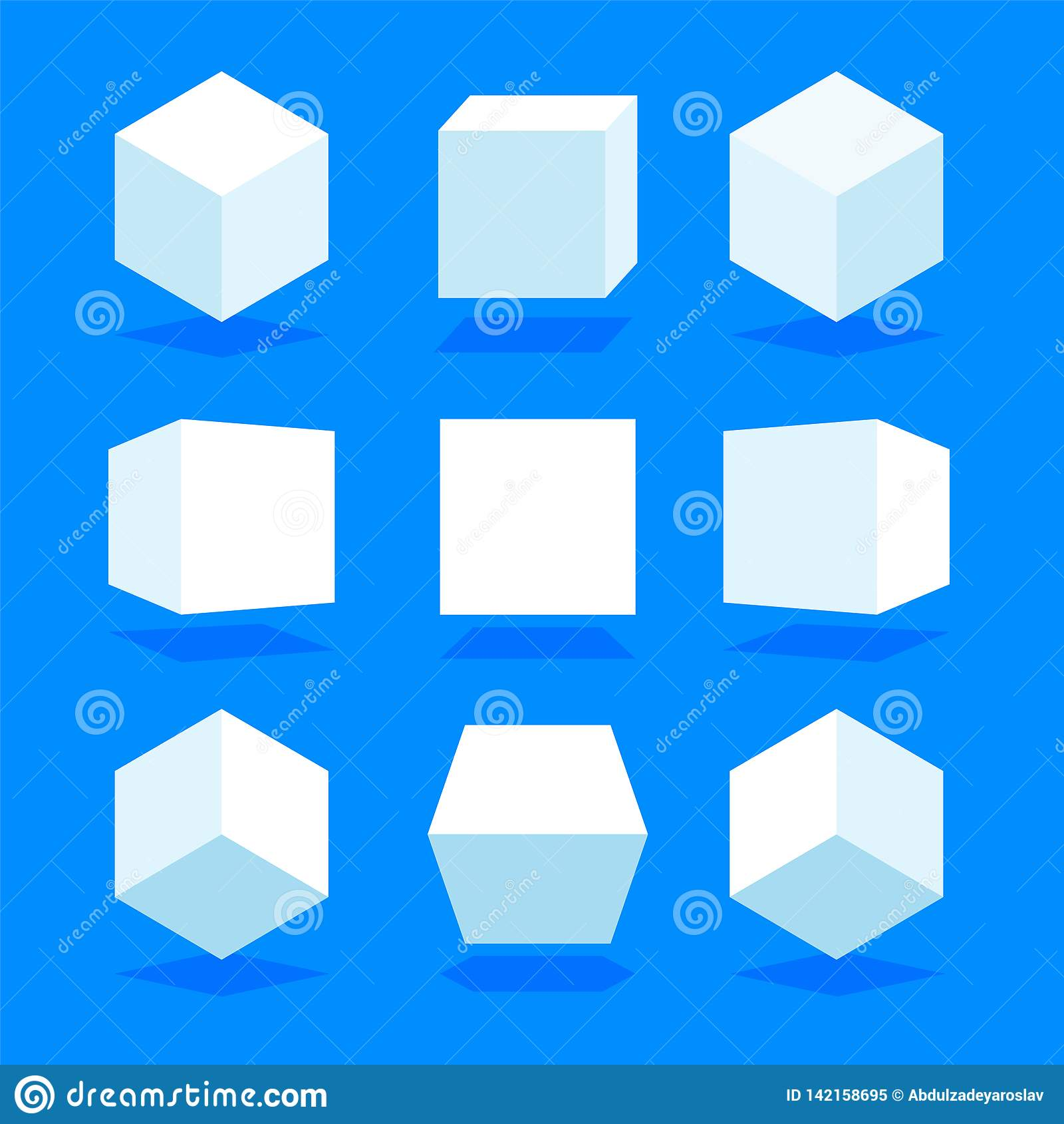 Weißes 3D berechnet des Satzes, der auf blauem Hintergrund lokalisiert wird Unterschiedliches Licht, Perspektive und Winkel Auch