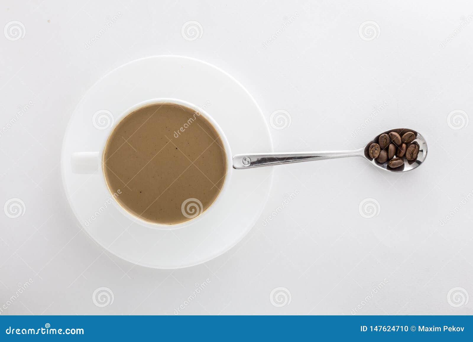 Wei?e Schale des hei?en Kaffee- und Teel?ffels