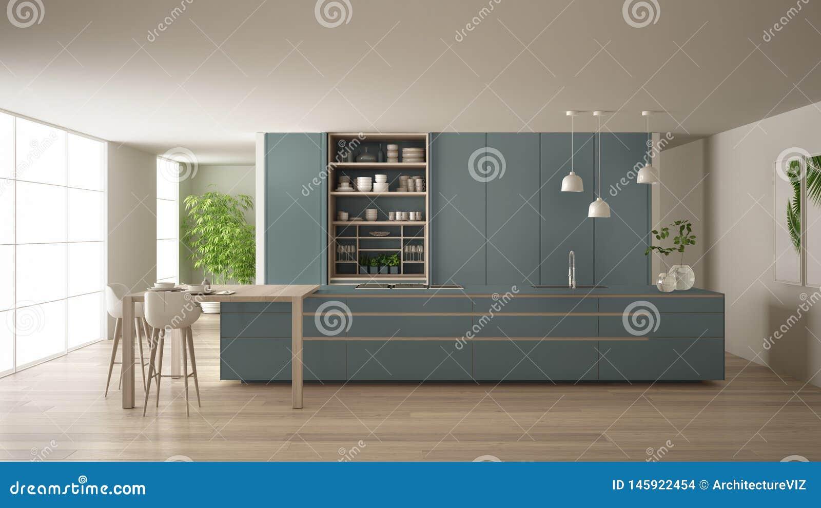 Weie Und Blaue Unbedeutende Kche Eco In Freundlicher Wohnung, In Der Insel, In Der Tabelle, In ...