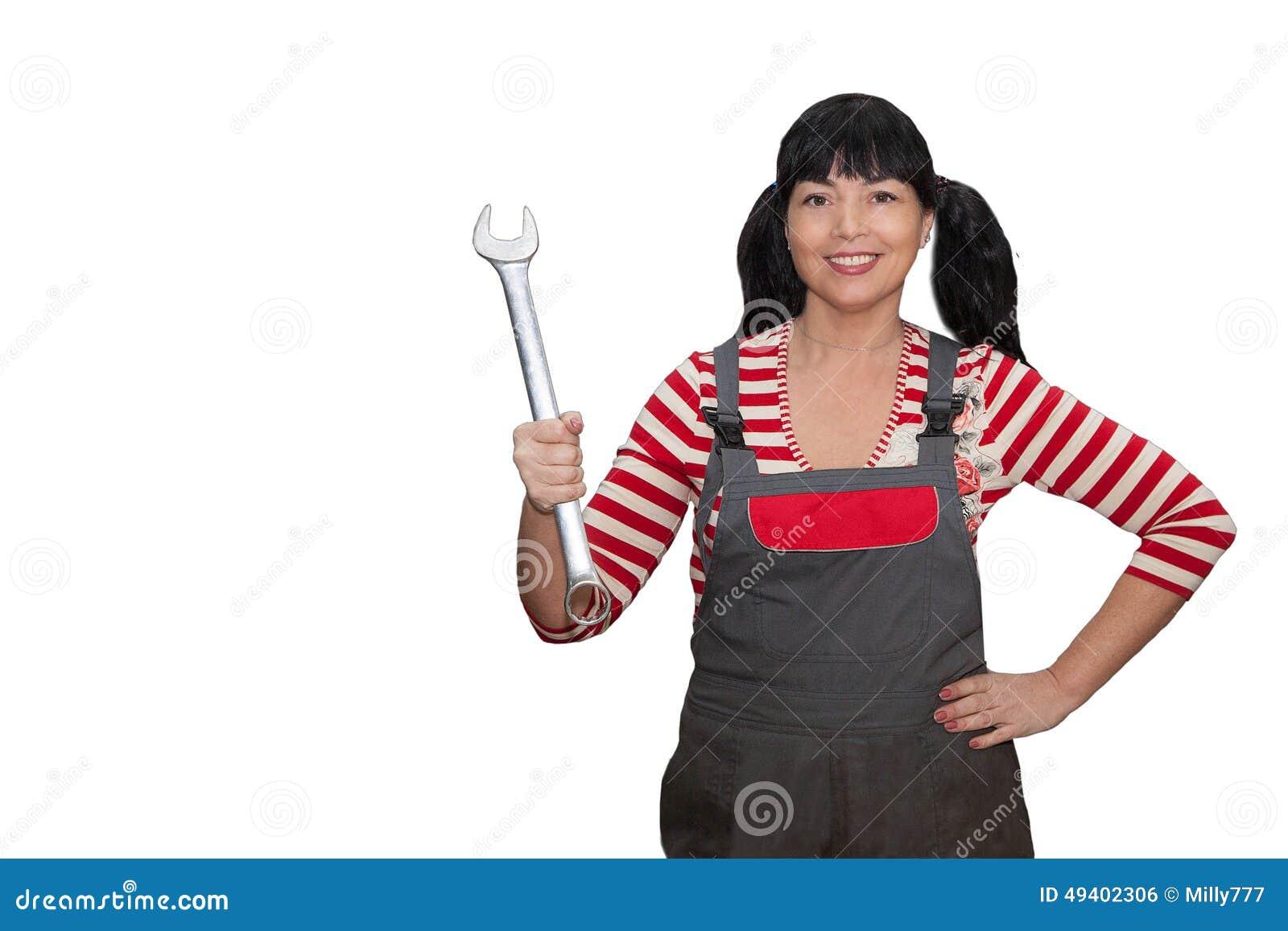 Download Weibliche Arbeitskraft, Die Einen Schlüssel Anhält Stockfoto - Bild von erwachsene, schön: 49402306