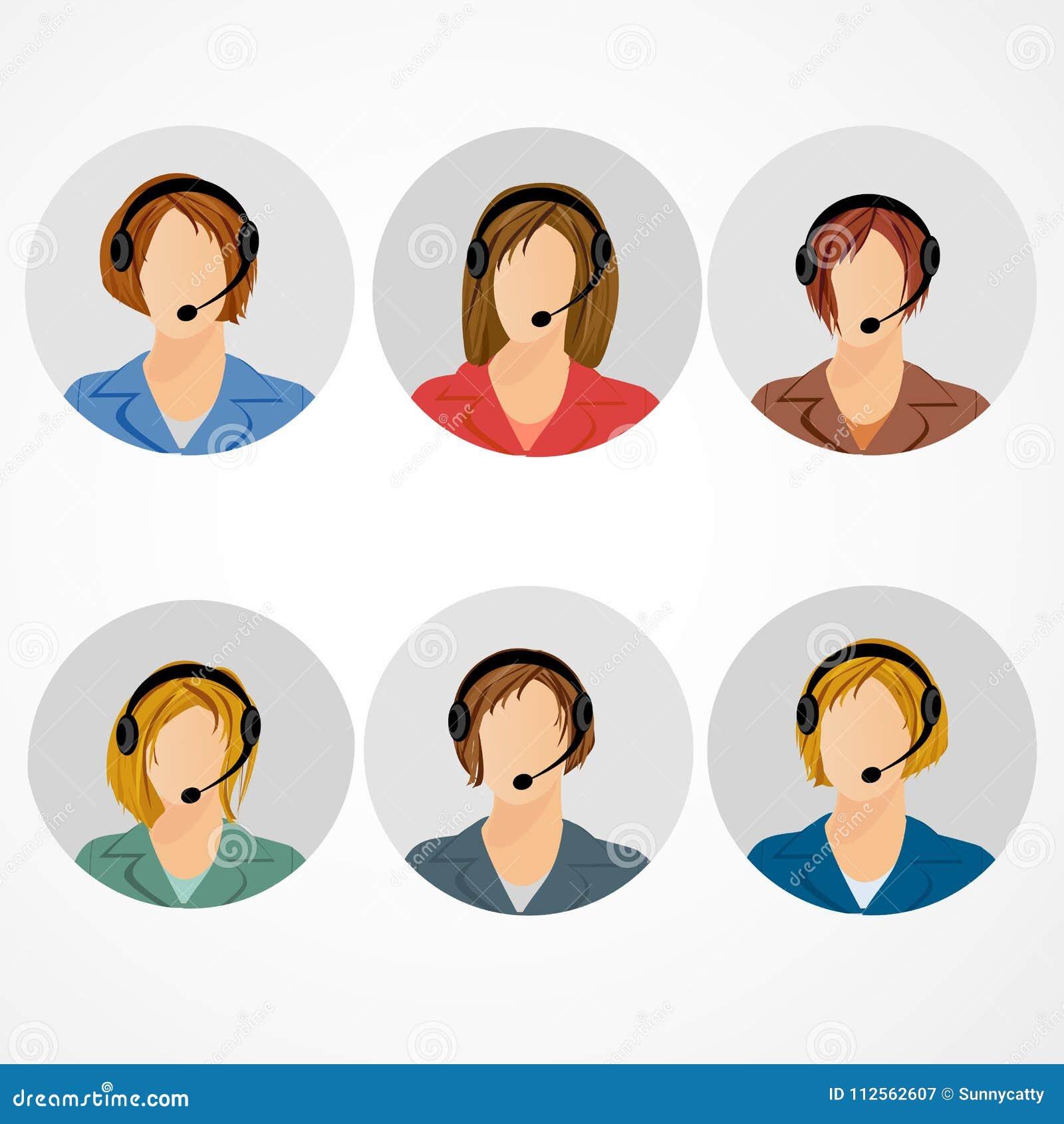 Weibliche Call-Center-Betreiberikone stellte - Frau in der Kopfhöreravatarasammlung ein Kundenbetreuung, Kundendienstleistungen,