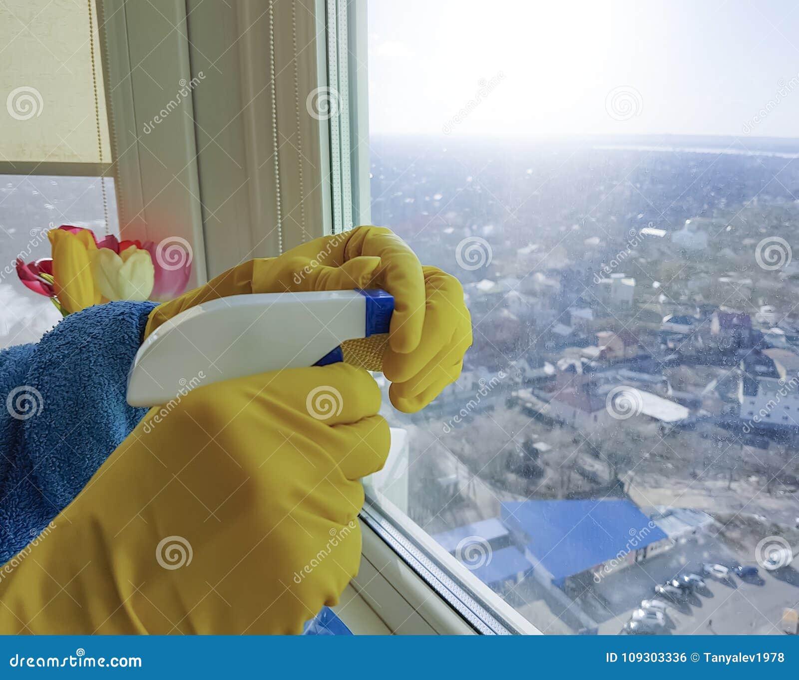Faszinierend Fenster Reinigen Dekoration Von Weibliche Hand In Den Gelben Handschuhen, Die