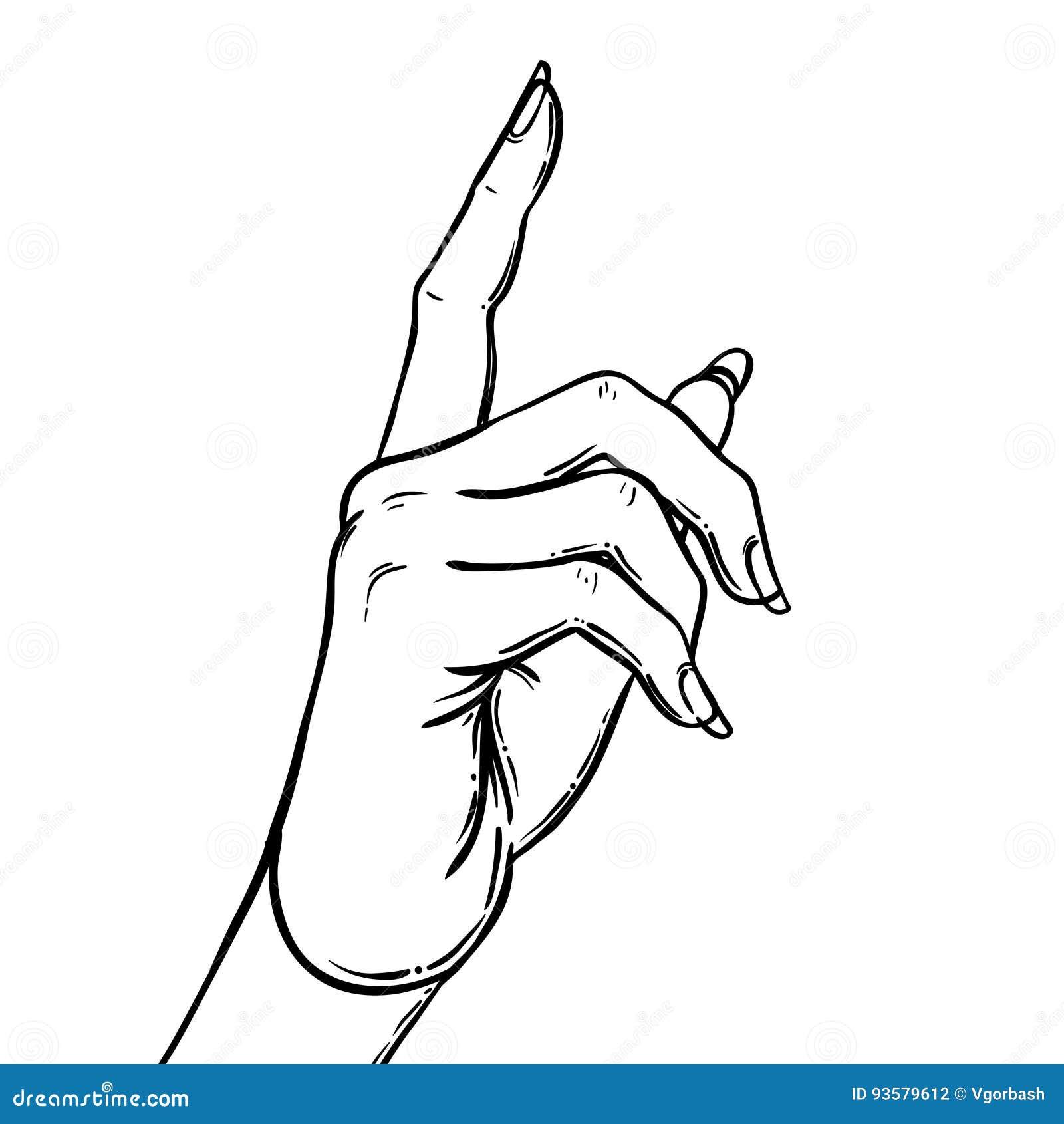 weibliche hand die auf etwas mit dem zeigefinger zeigt zeigen von direc vektor abbildung. Black Bedroom Furniture Sets. Home Design Ideas